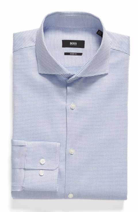 BOSS Mark Sharp Fit Geometric Dress Shirt