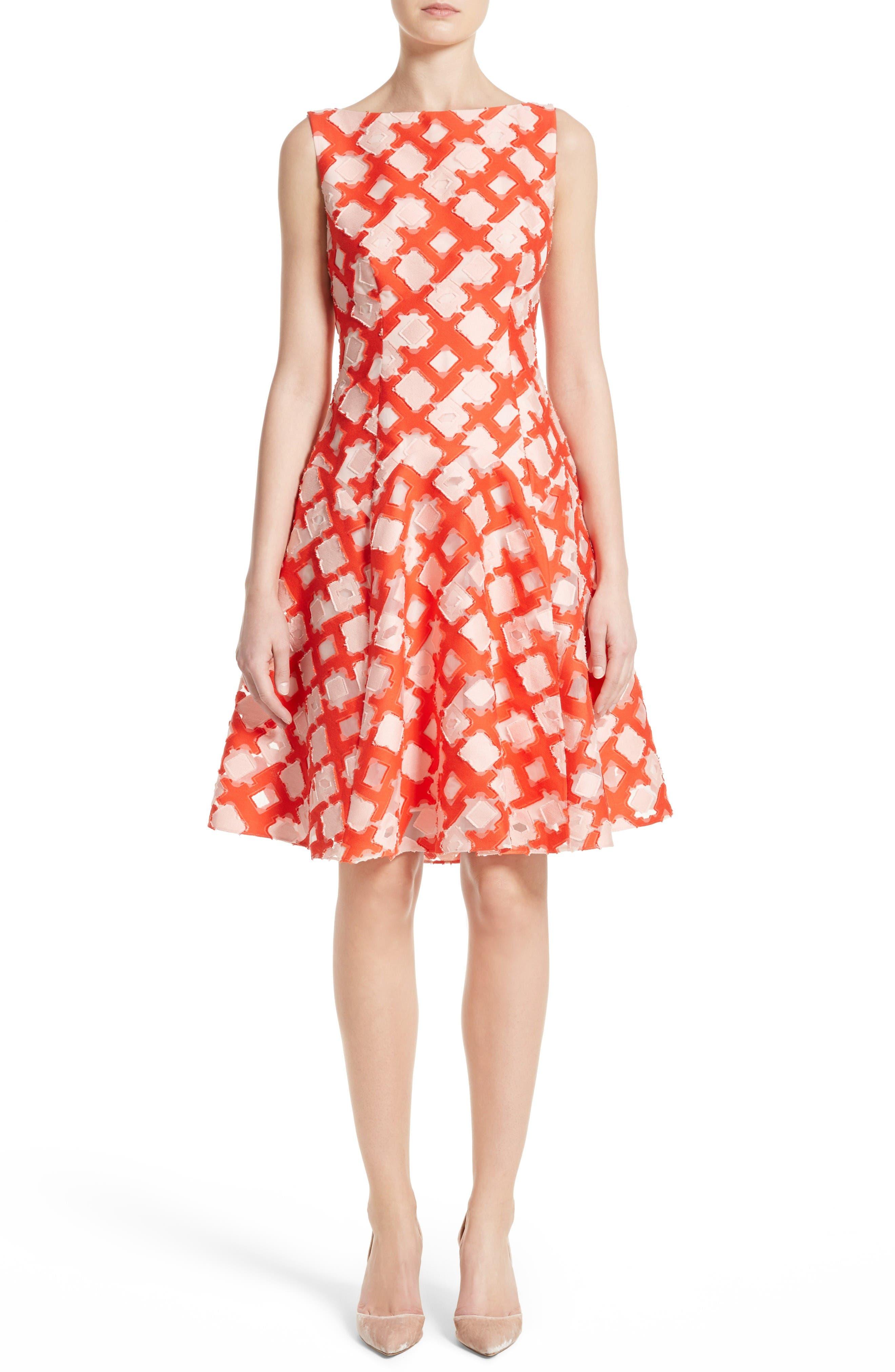 LELA ROSE Geometric Fil Coupé Godet Dress