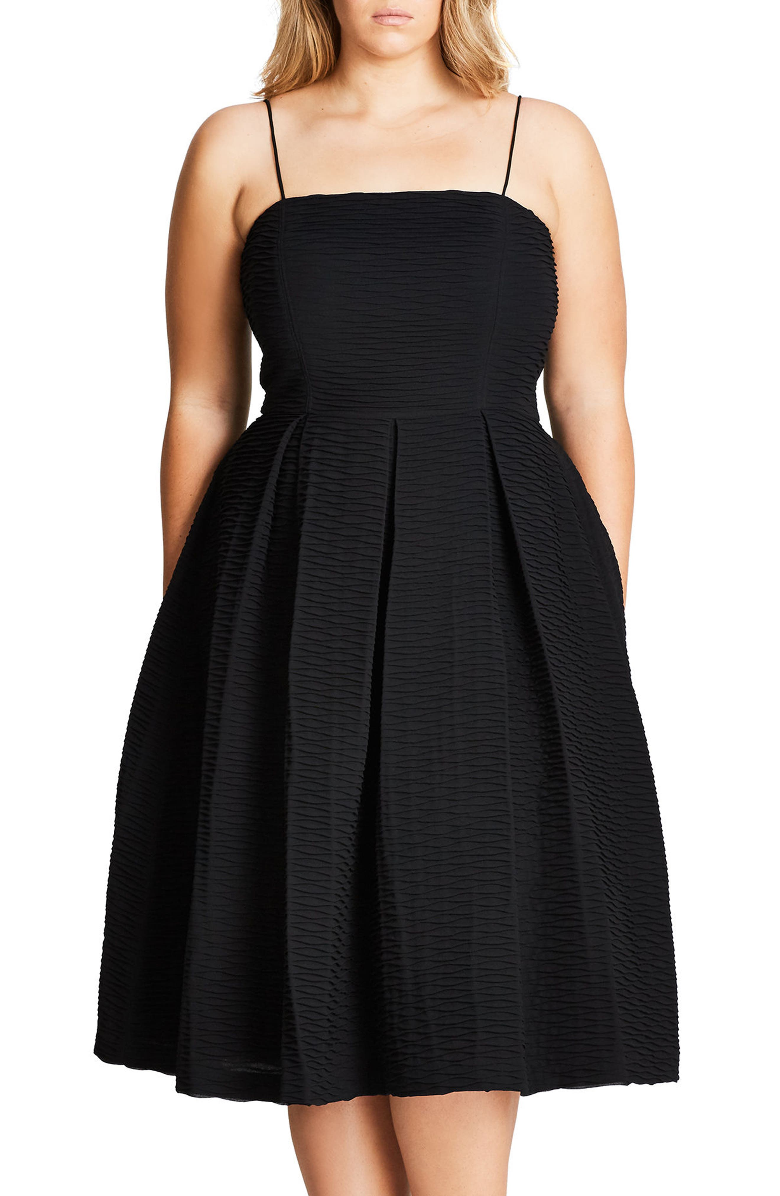 City Chic Textured Treat Fit & Flare Dress (Plus Size)