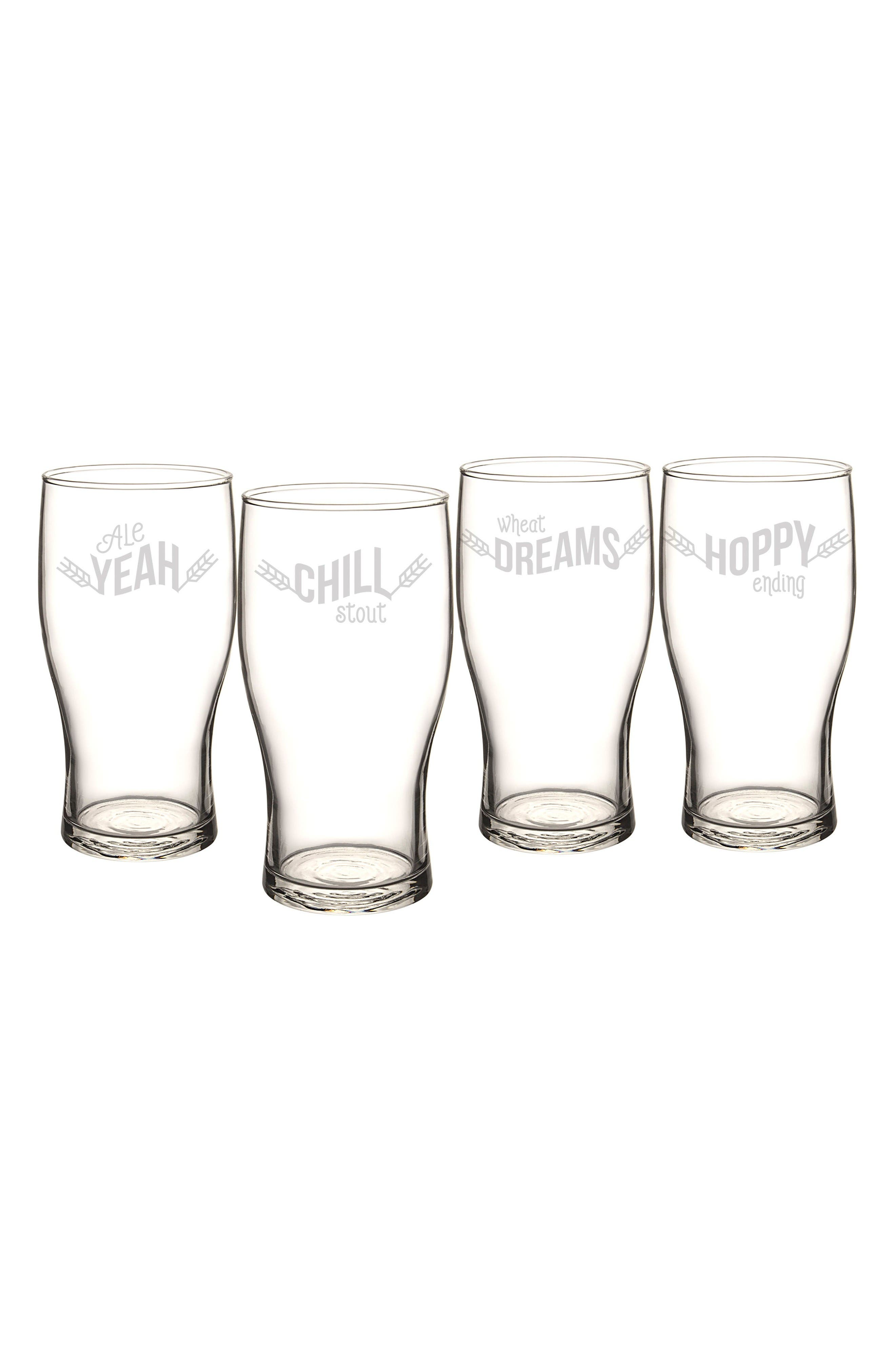 Cathy's Concepts Beer Pun Set of 4 Pilsner Glasses