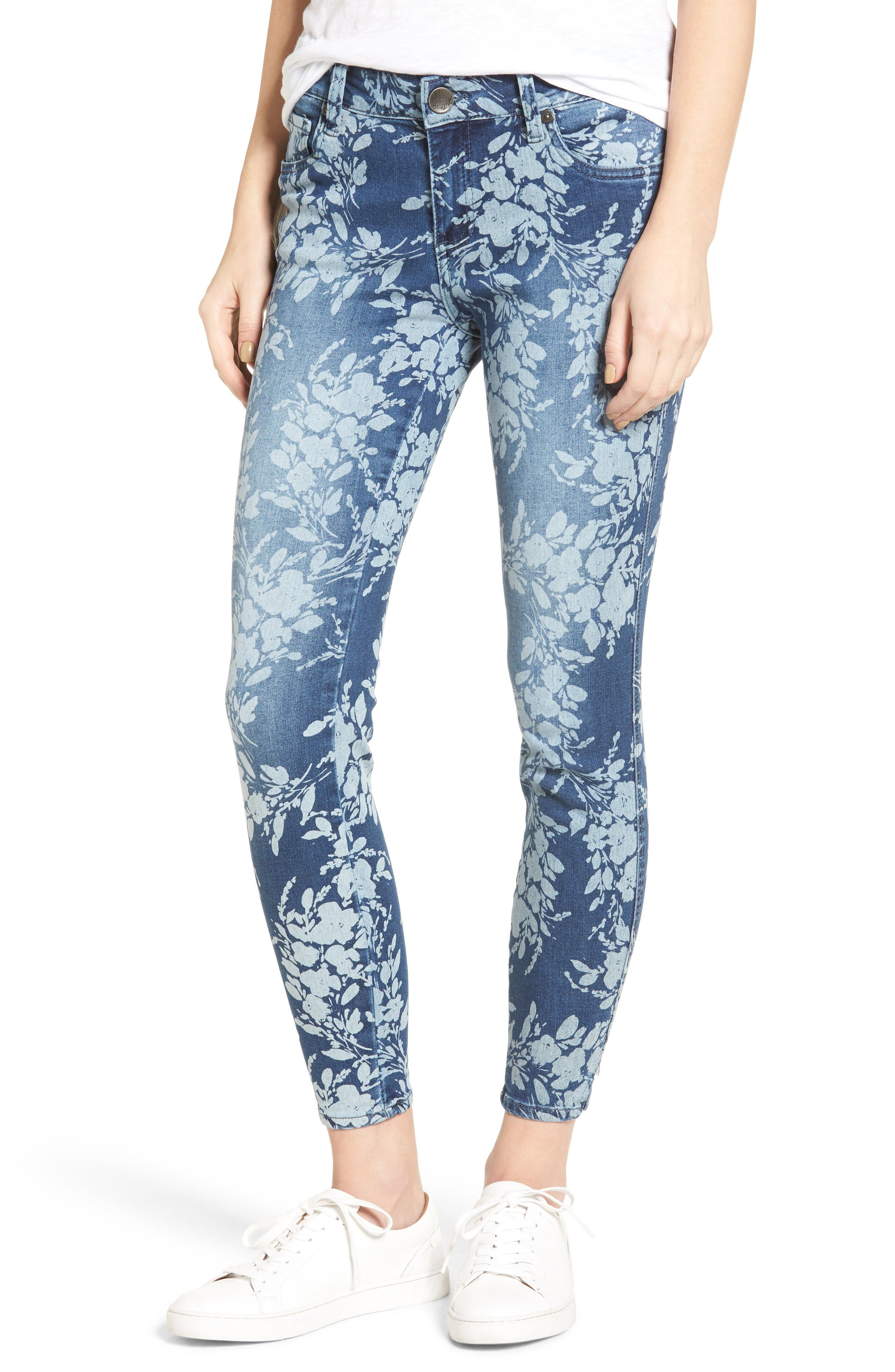 KUT from the Kloth Eva Floral Print Skinny Ankle Jeans