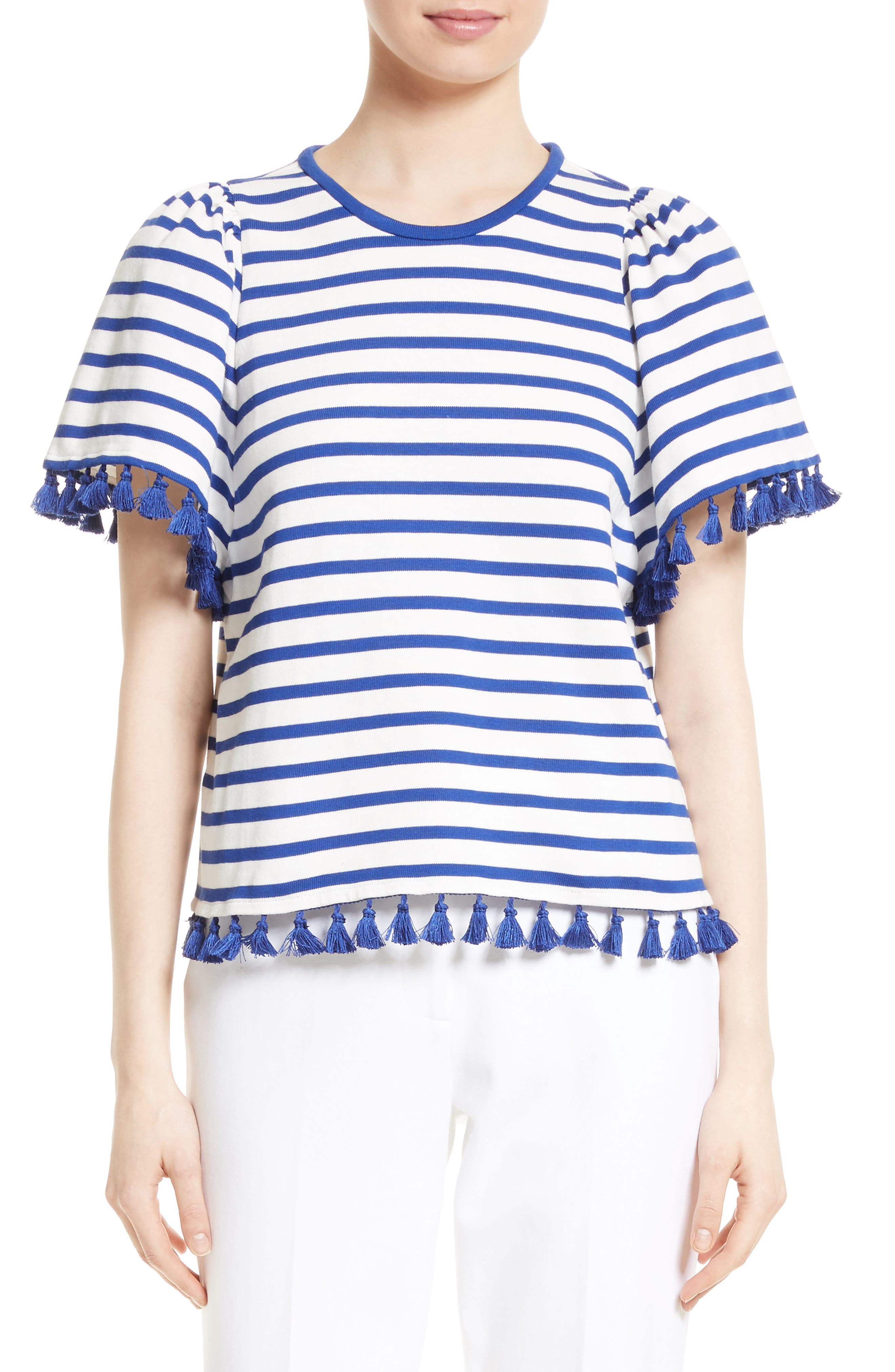 kate spade new york tassel stripe flutter sleeve top
