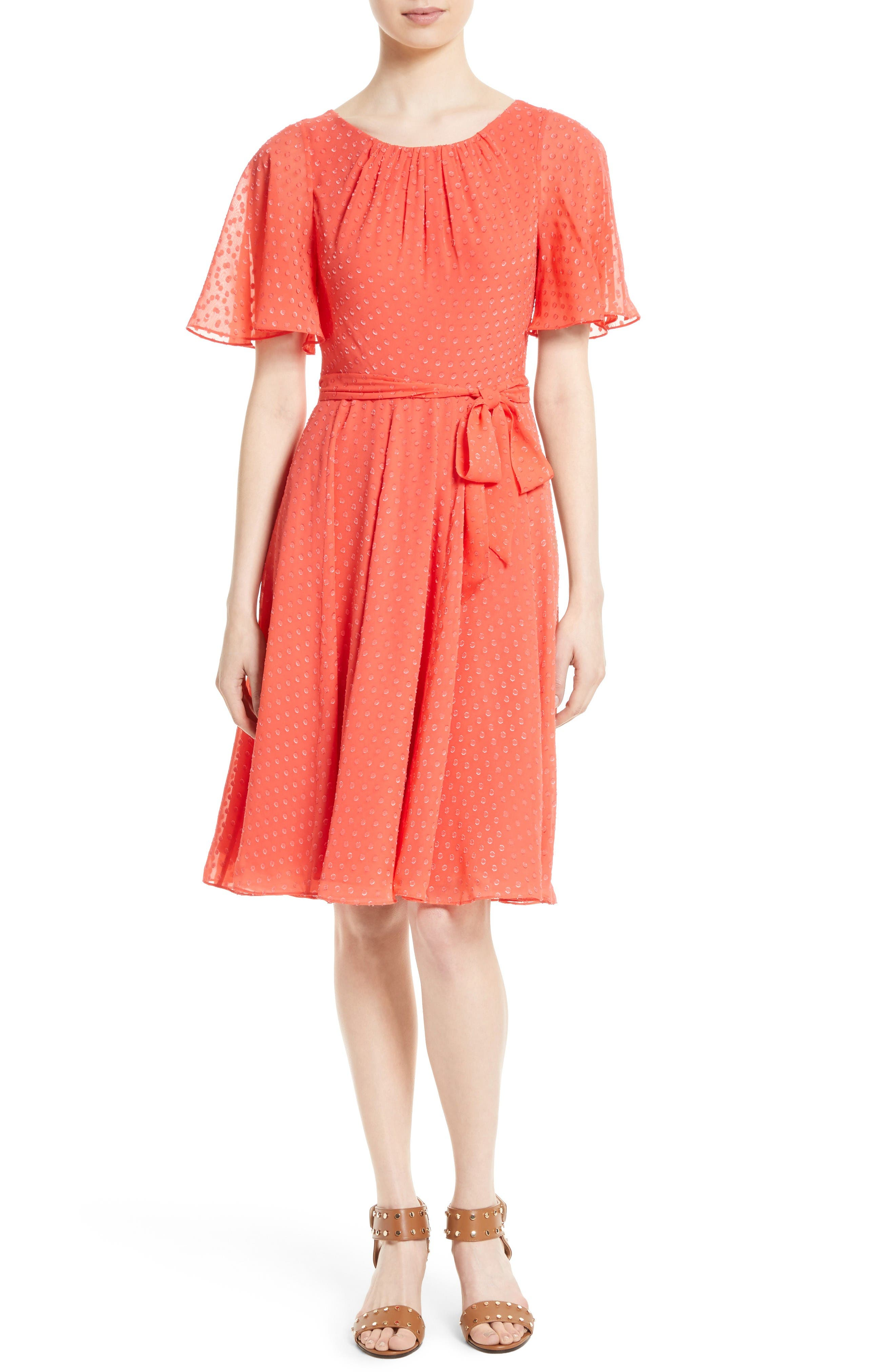 kate spade new york belted clipped silk chiffon dress
