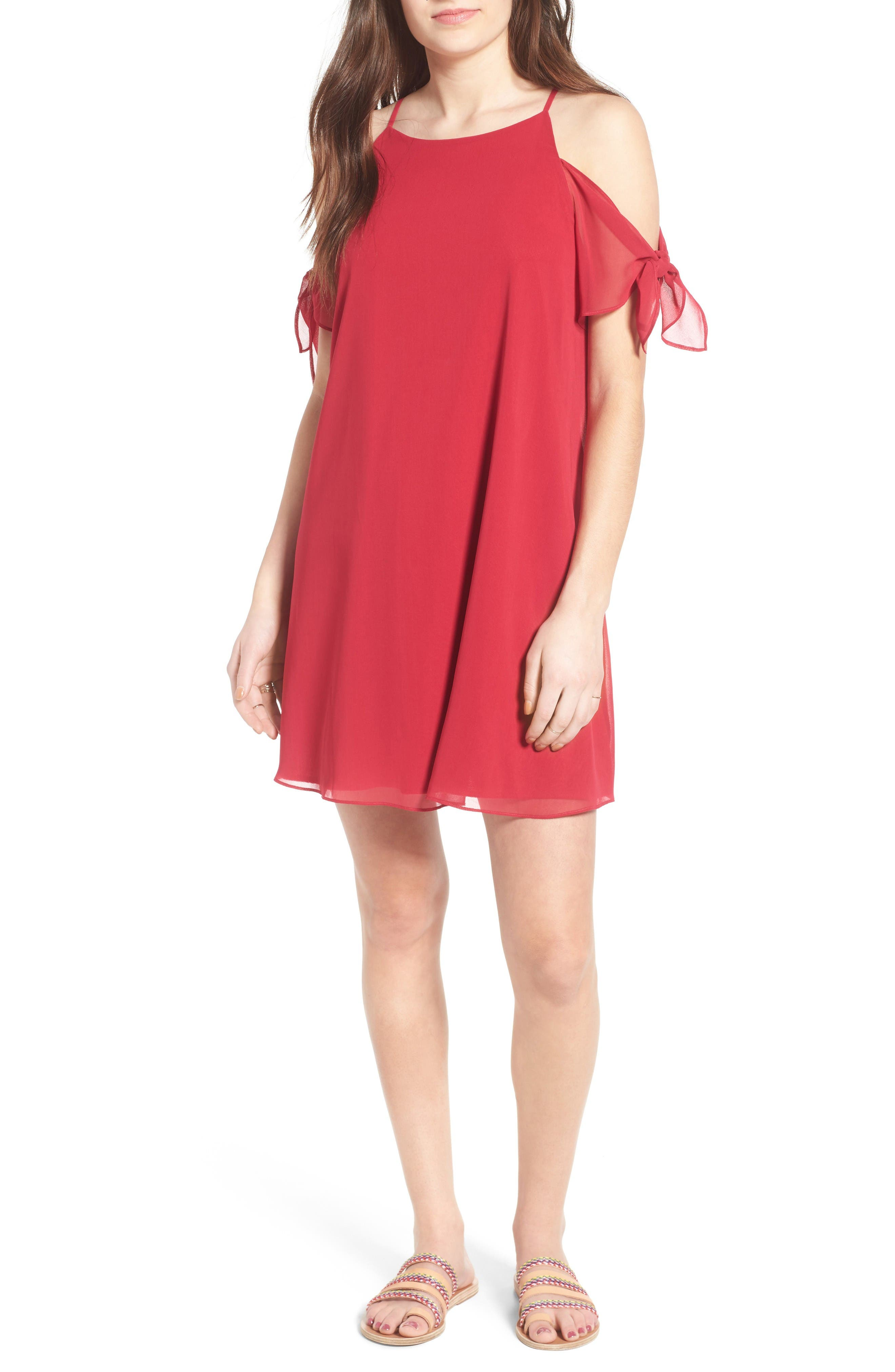 SOPRANO Tie Sleeve Cold Shoulder Dress