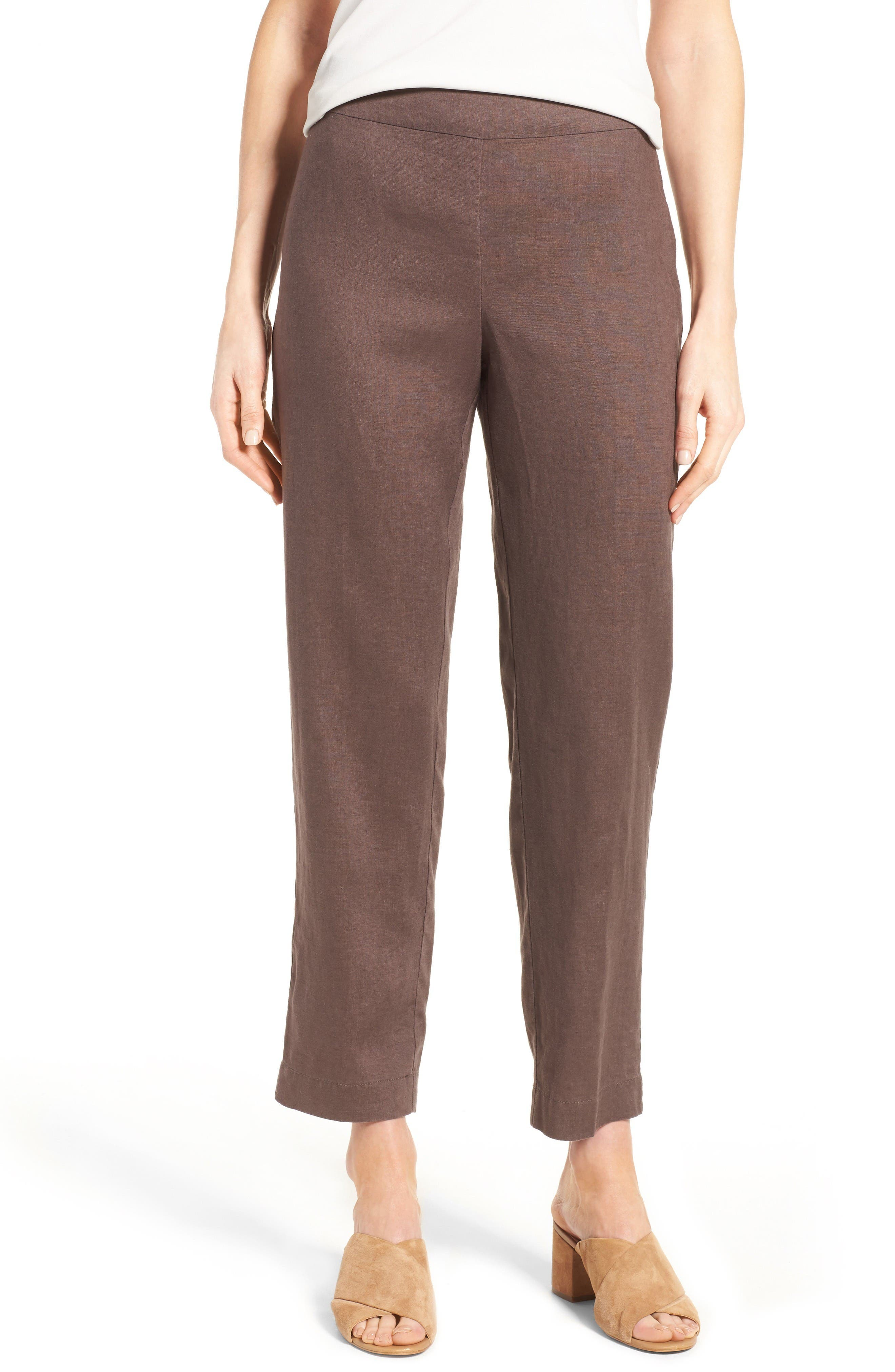 EILEEN FISHER Organic Linen Slim Ankle Pants
