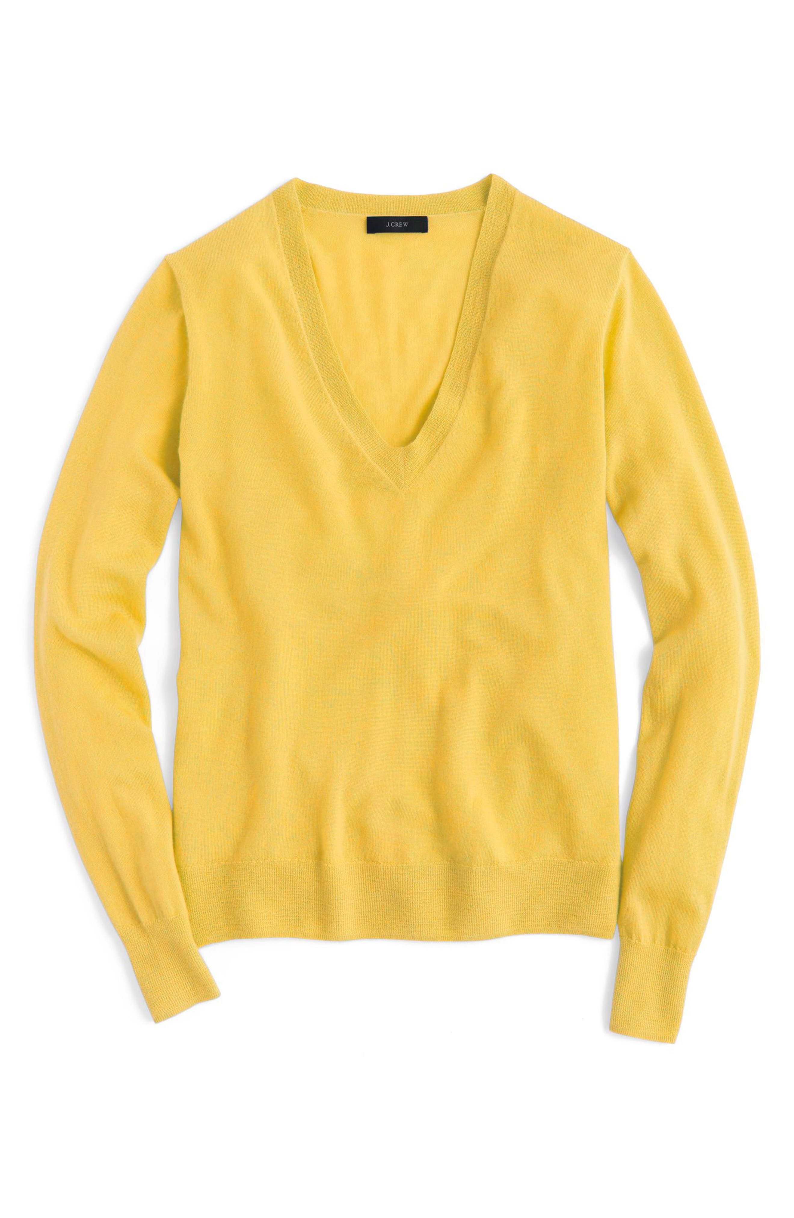 Main Image - J.Crew V-Neck Italian Featherweight Cashmere Sweater