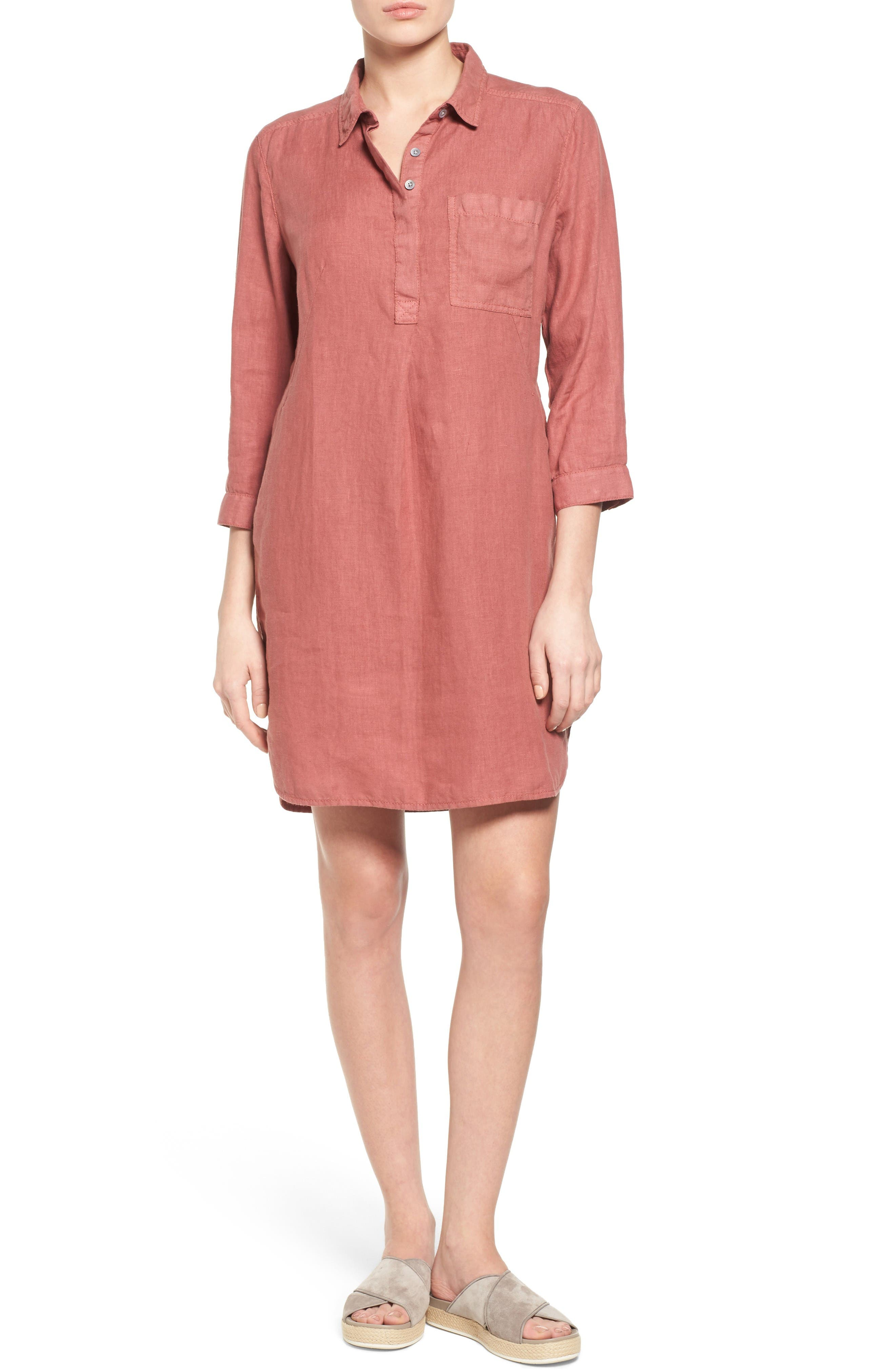 CASLON® Linen Shirtdress