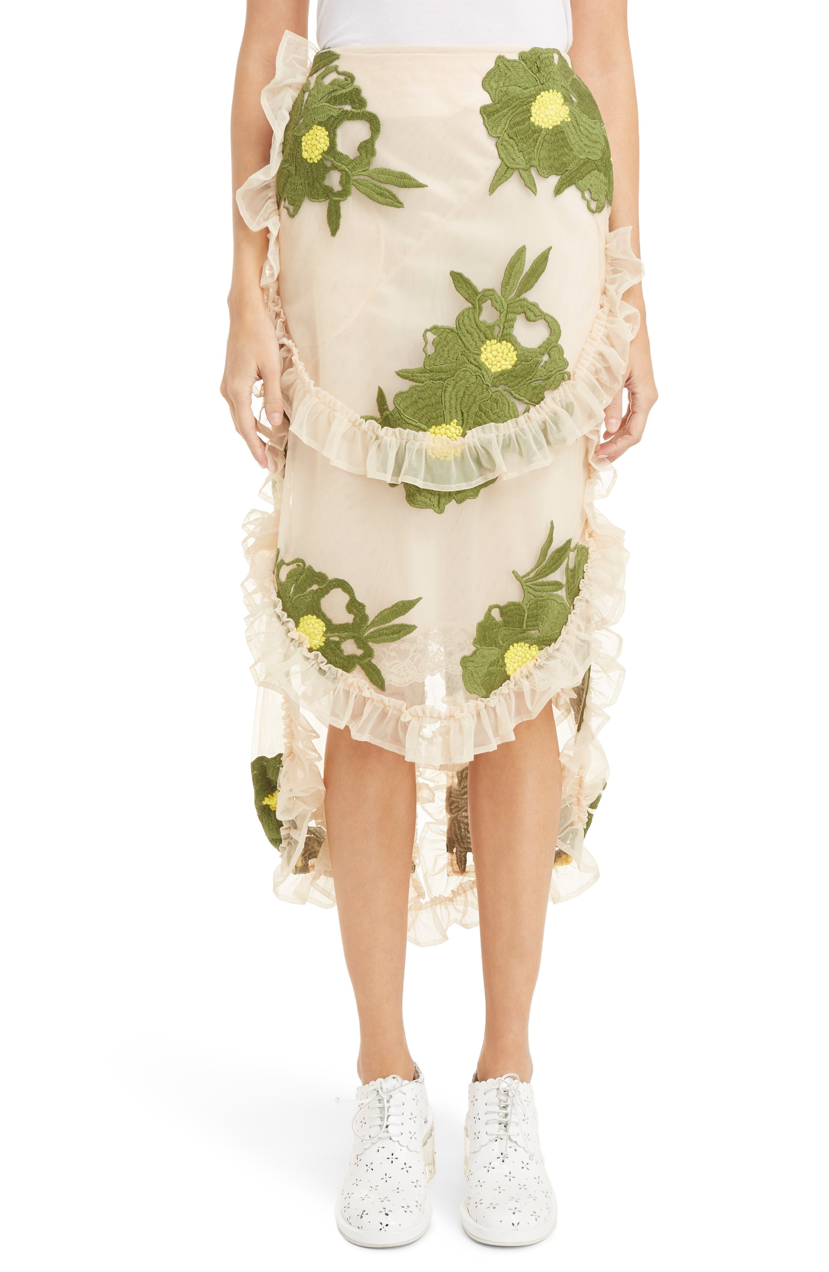 SIMONE ROCHA Embroidered Peony Skirt