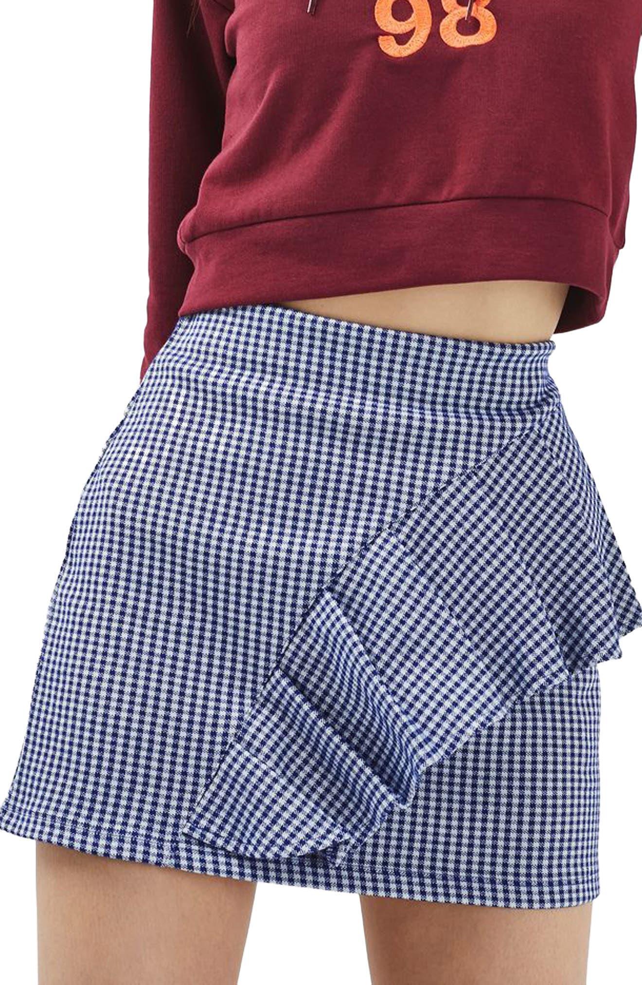 Main Image - Topshop Gingham Ruffle Miniskirt