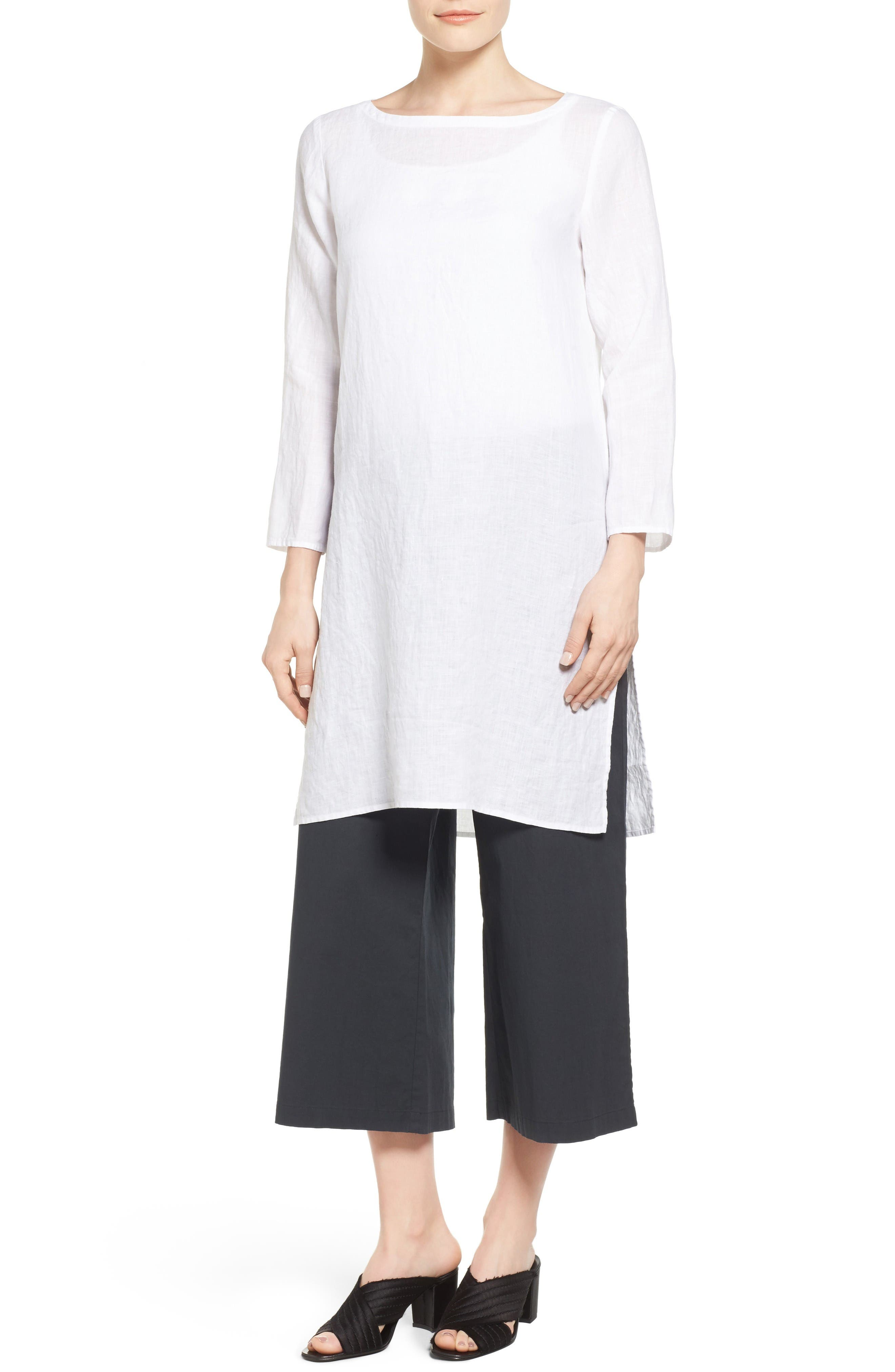 Eileen Fisher Organic Linen Bateau Neck Tunic (Regular & Petite)