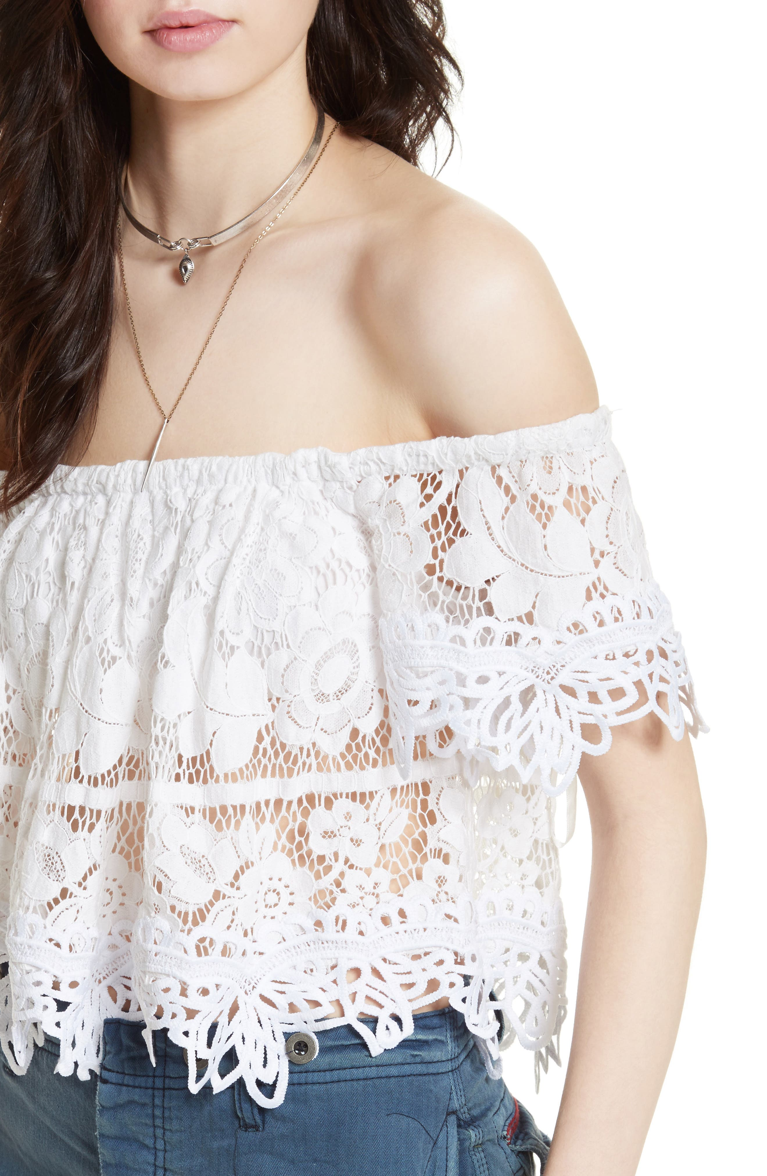 Alternate Image 4  - Free People Lace Off the Shoulder Tank