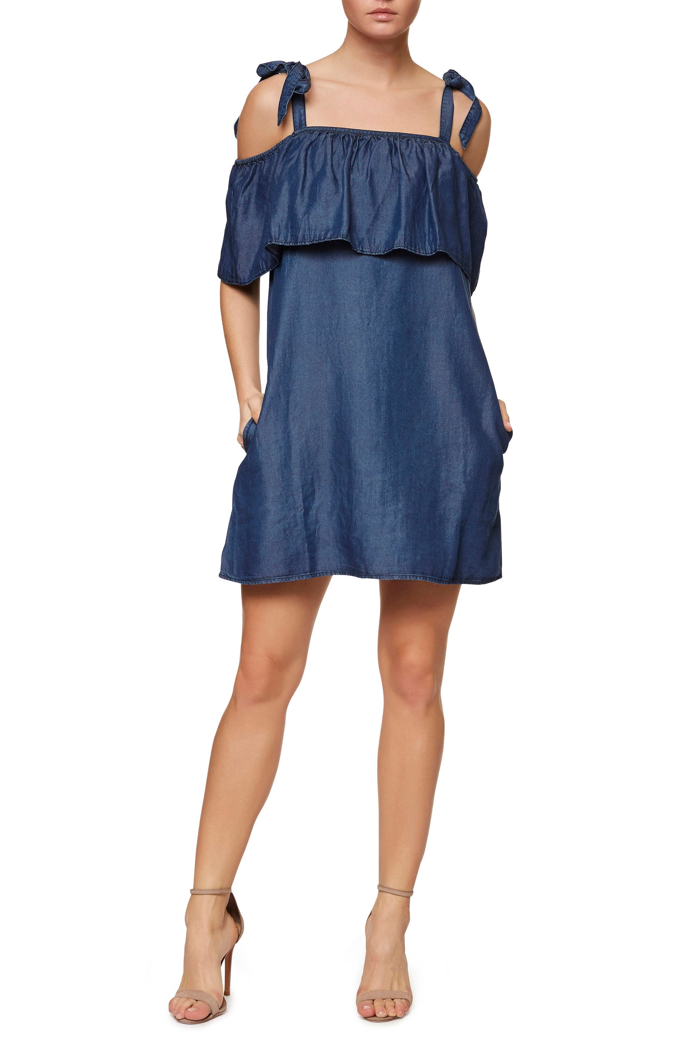 Sanctuary Sigrid Chambray Tie Shoulder Dress