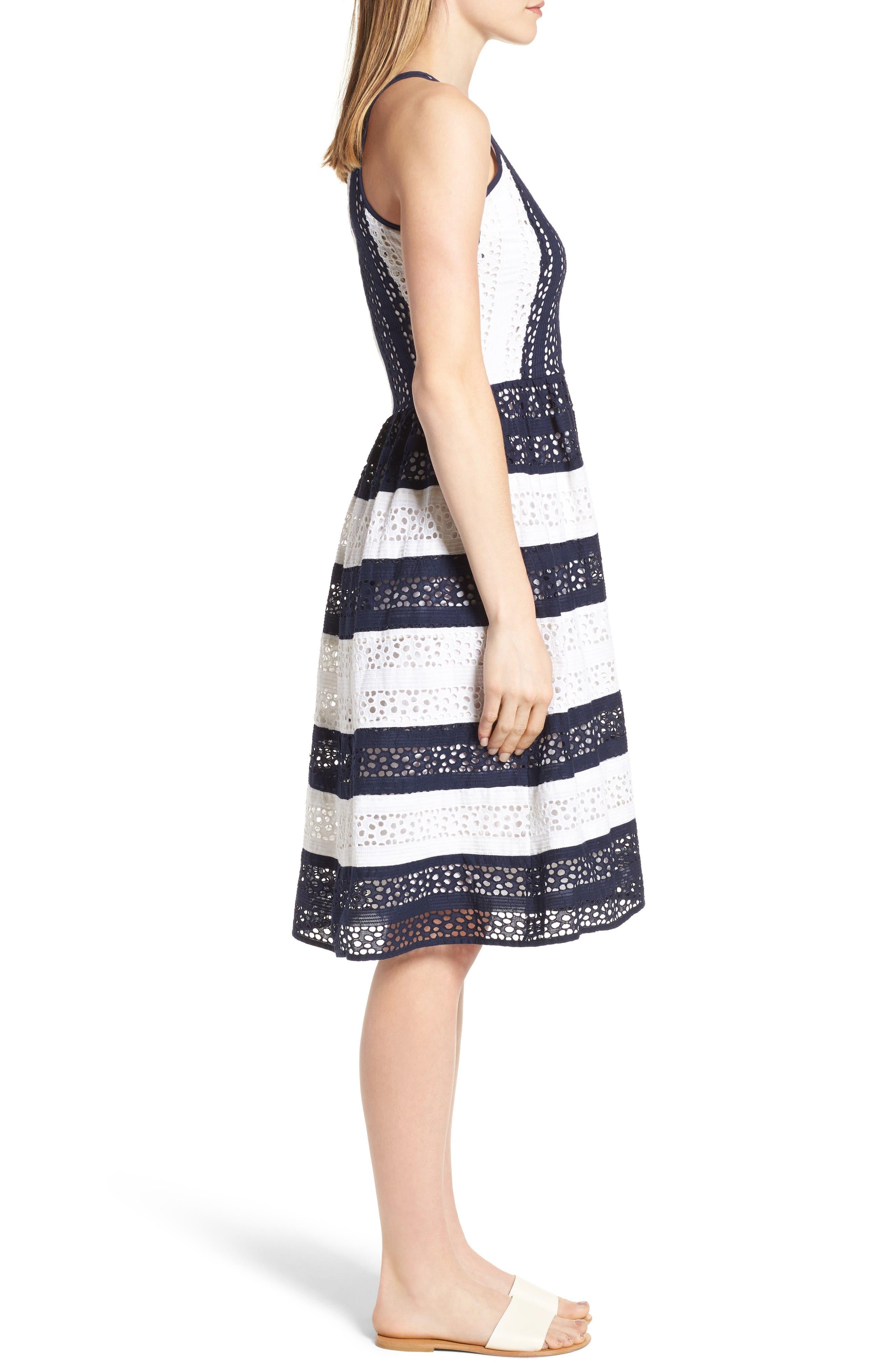 Alternate Image 3  - MICHAEL Michael Kors Stripe Eyelet Fit & Flare Dress