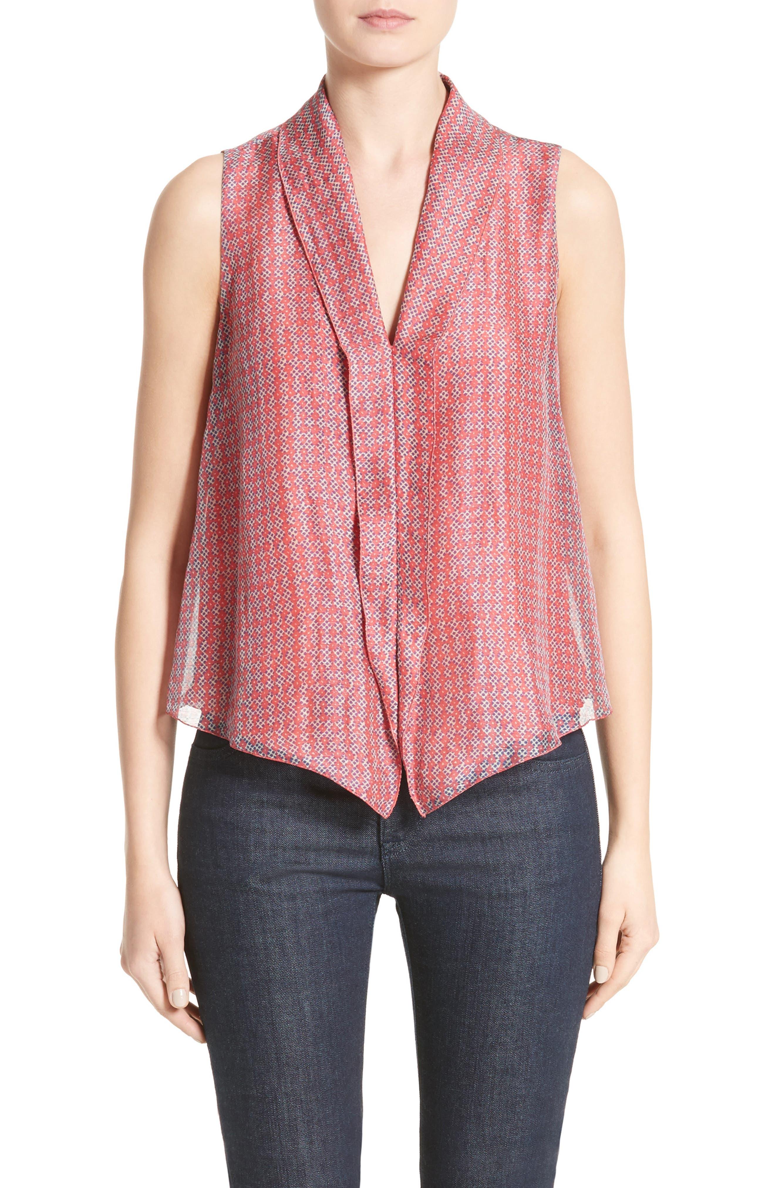 Armani Collezioni Print Linen & Silk Blouse