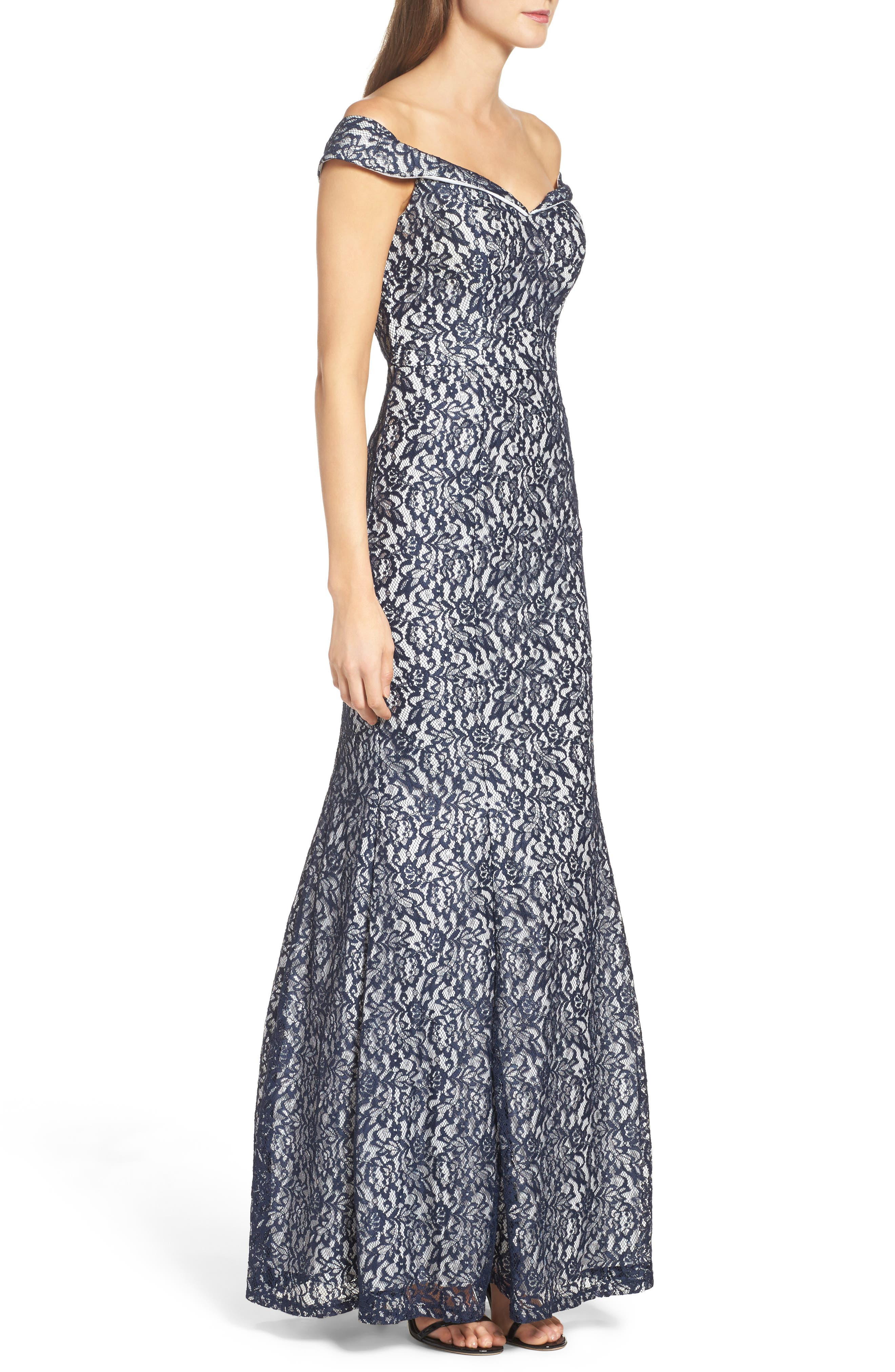 Alternate Image 3  - Sequin Hearts Off the Shoulder Lace Mermaid Gown