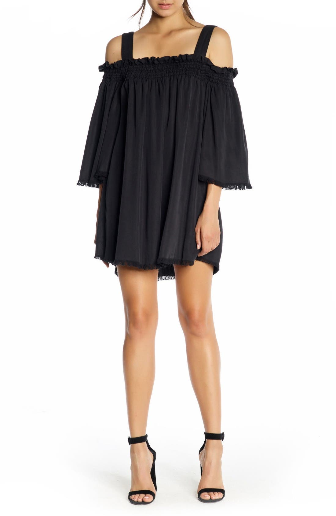 Alternate Image 1 Selected - KENDALL + KYLIE Fray Twill Swing Dress