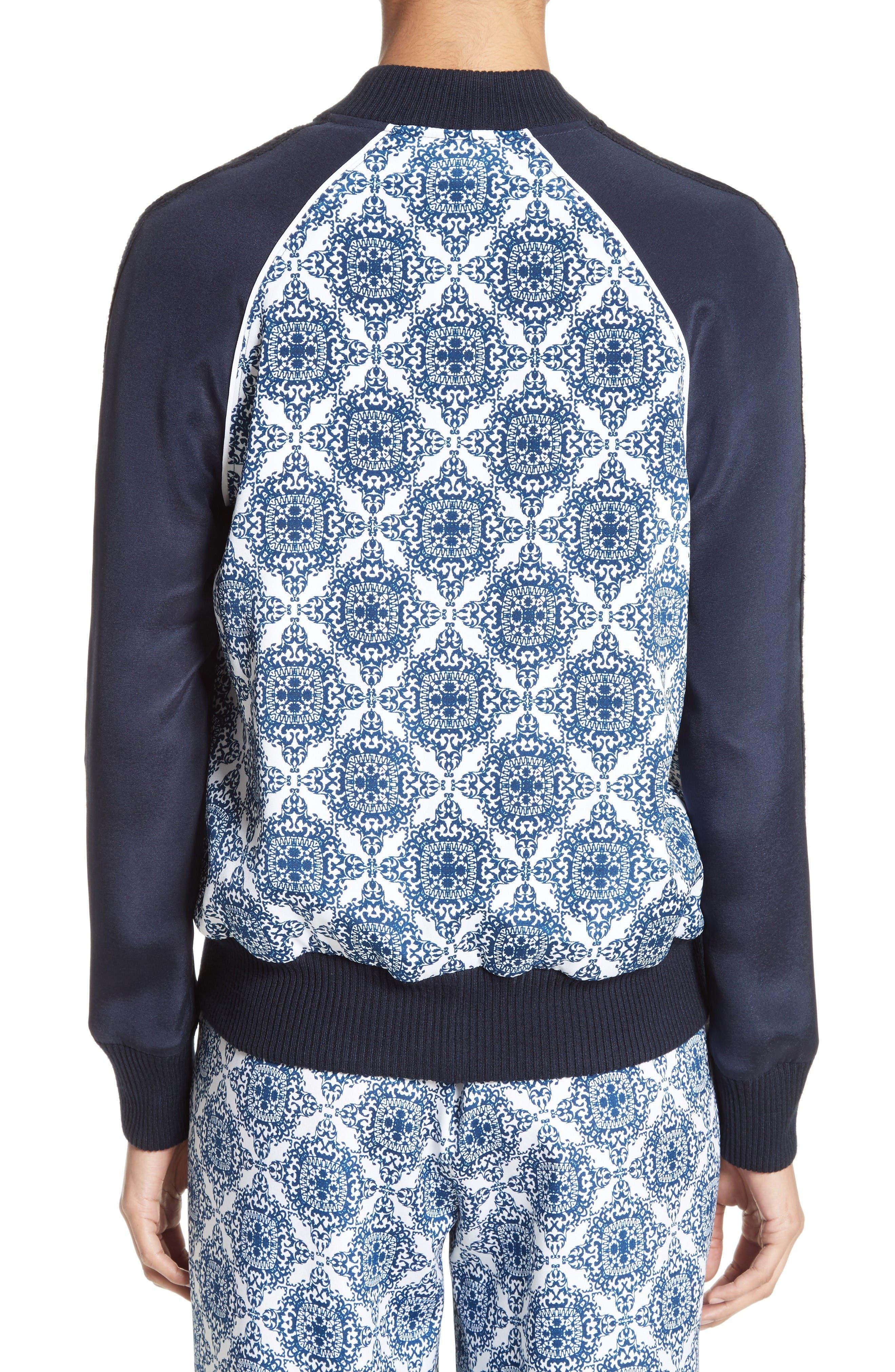 Alternate Image 3  - St. John Collection Kali Tile Print Stretch Silk Crêpe de Chine Bomber Jacket