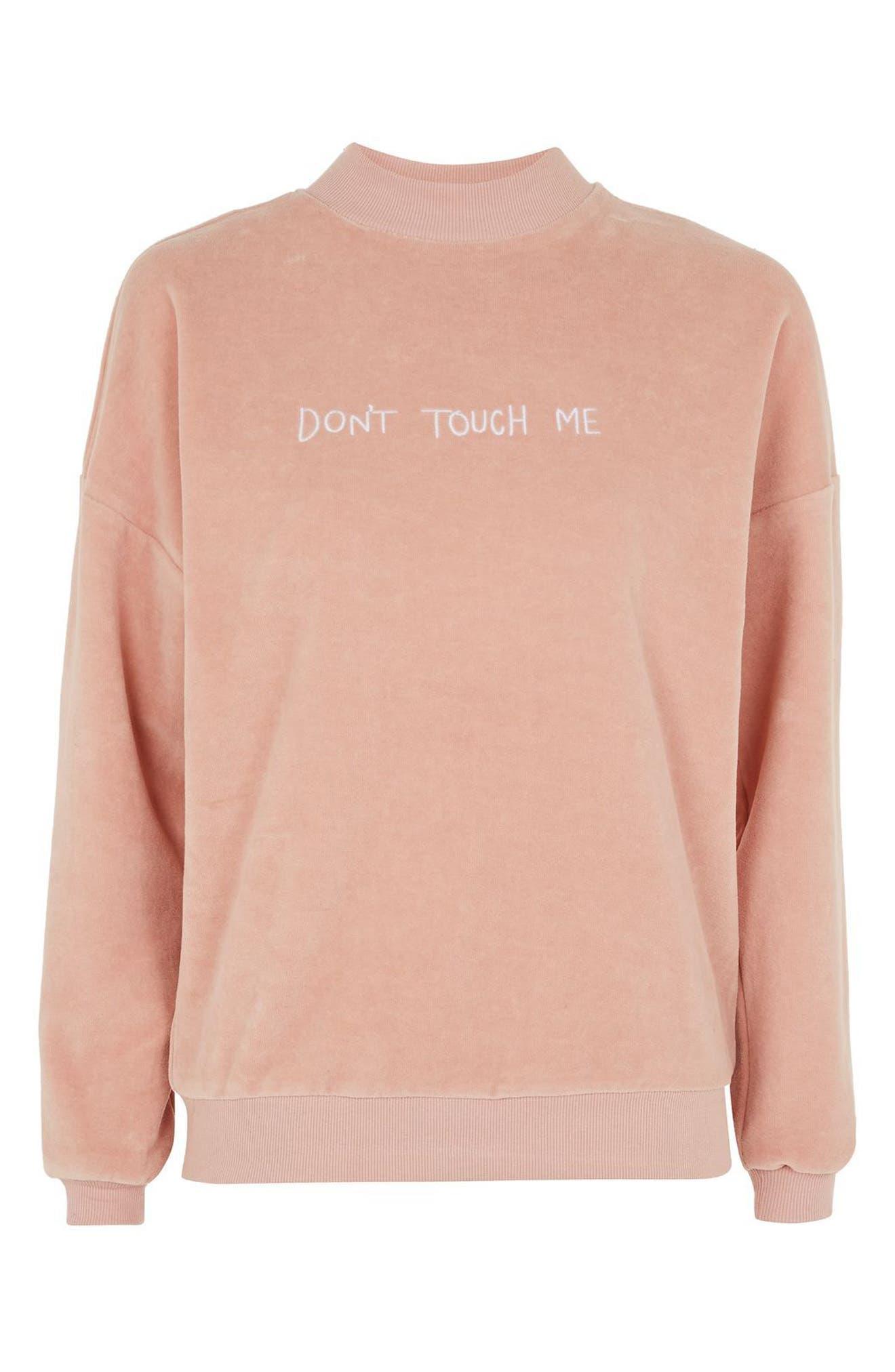 Alternate Image 4  - Topshop by Tee & Cake Don't Touch Me Velvet Sweatshirt