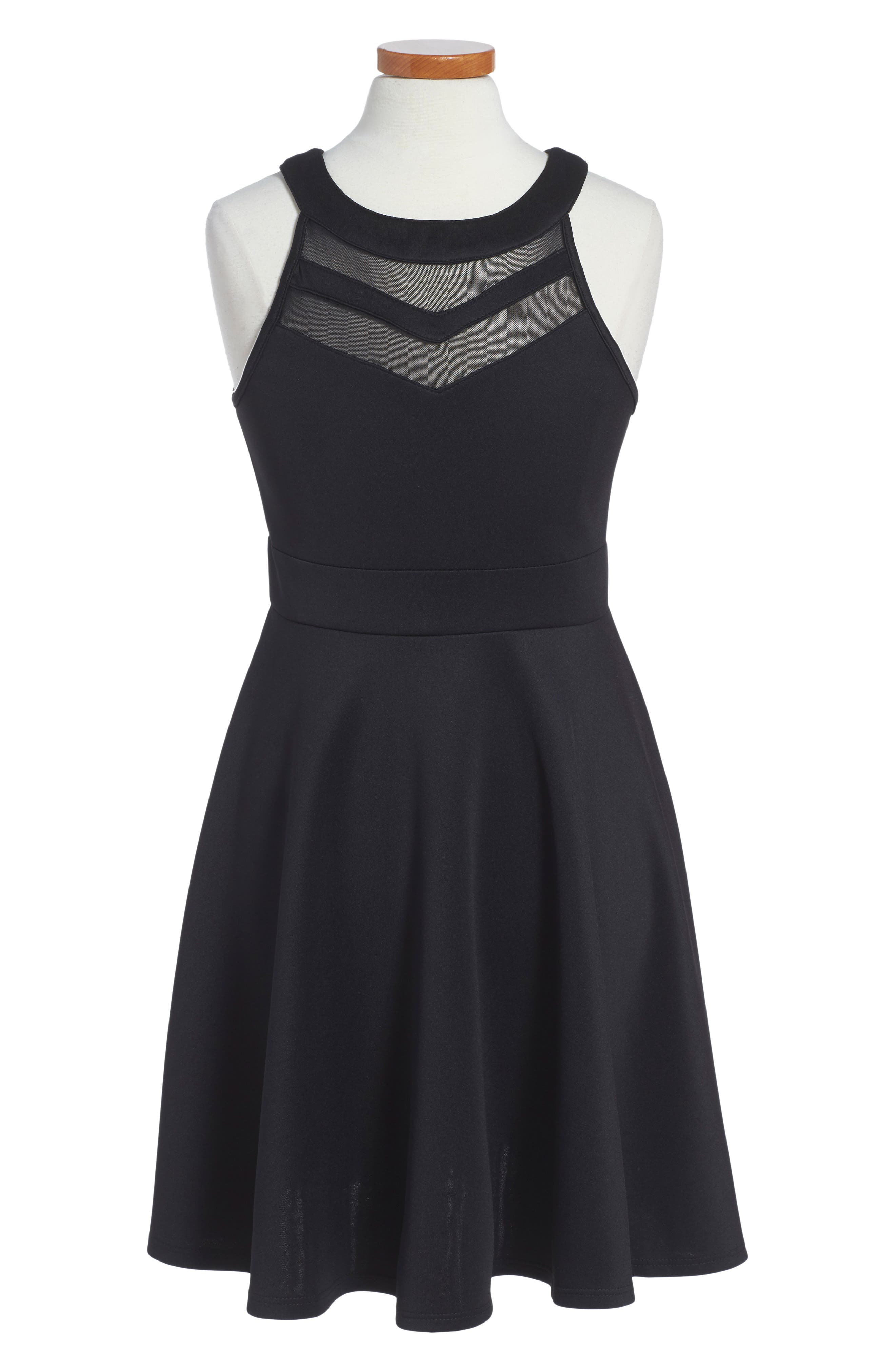 LOVE, NICKIE LEW Mesh Inset Party Dress