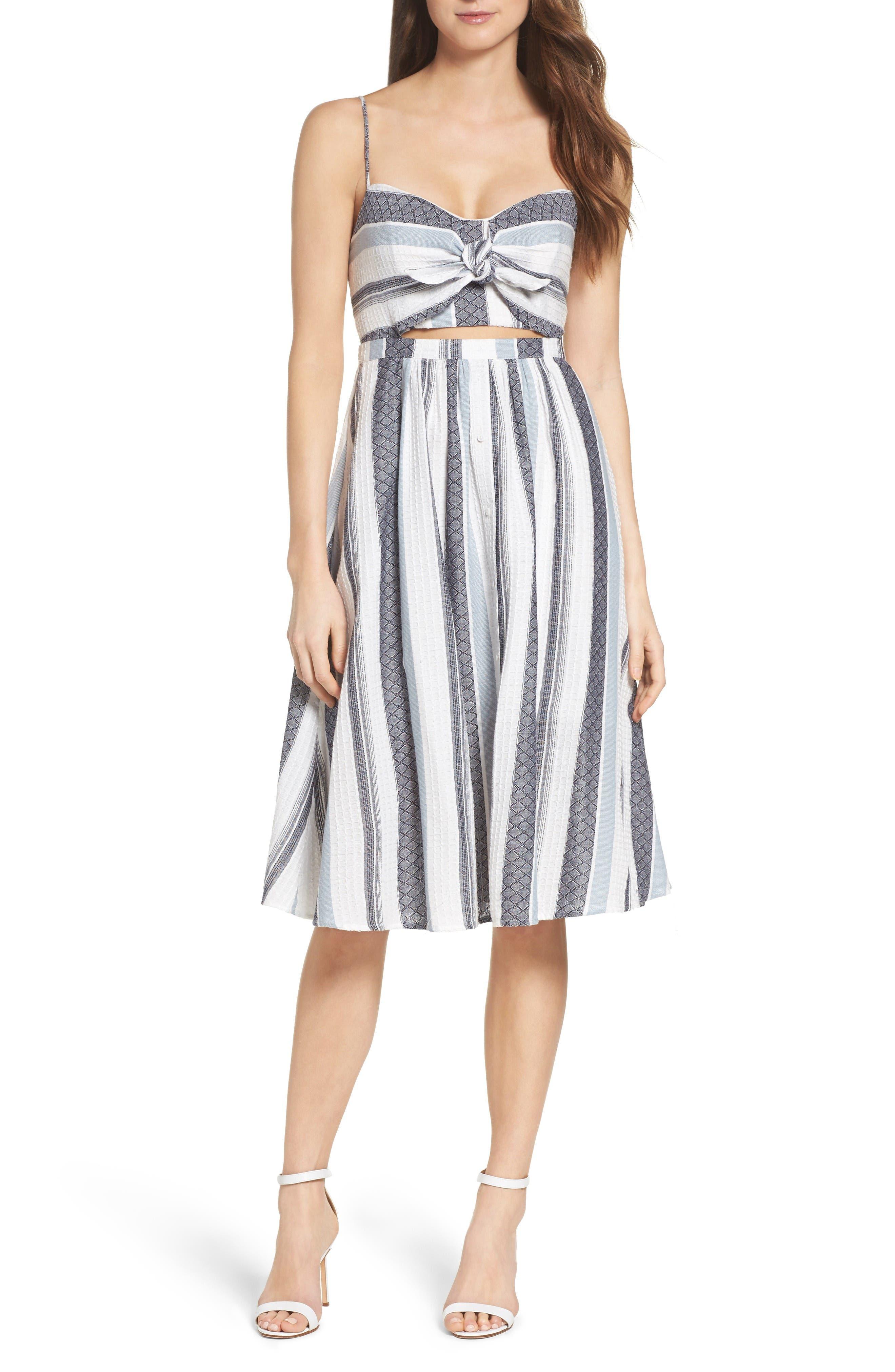 Main Image - Bardot Ibiza Stripe Cotton Bow Front Sundress
