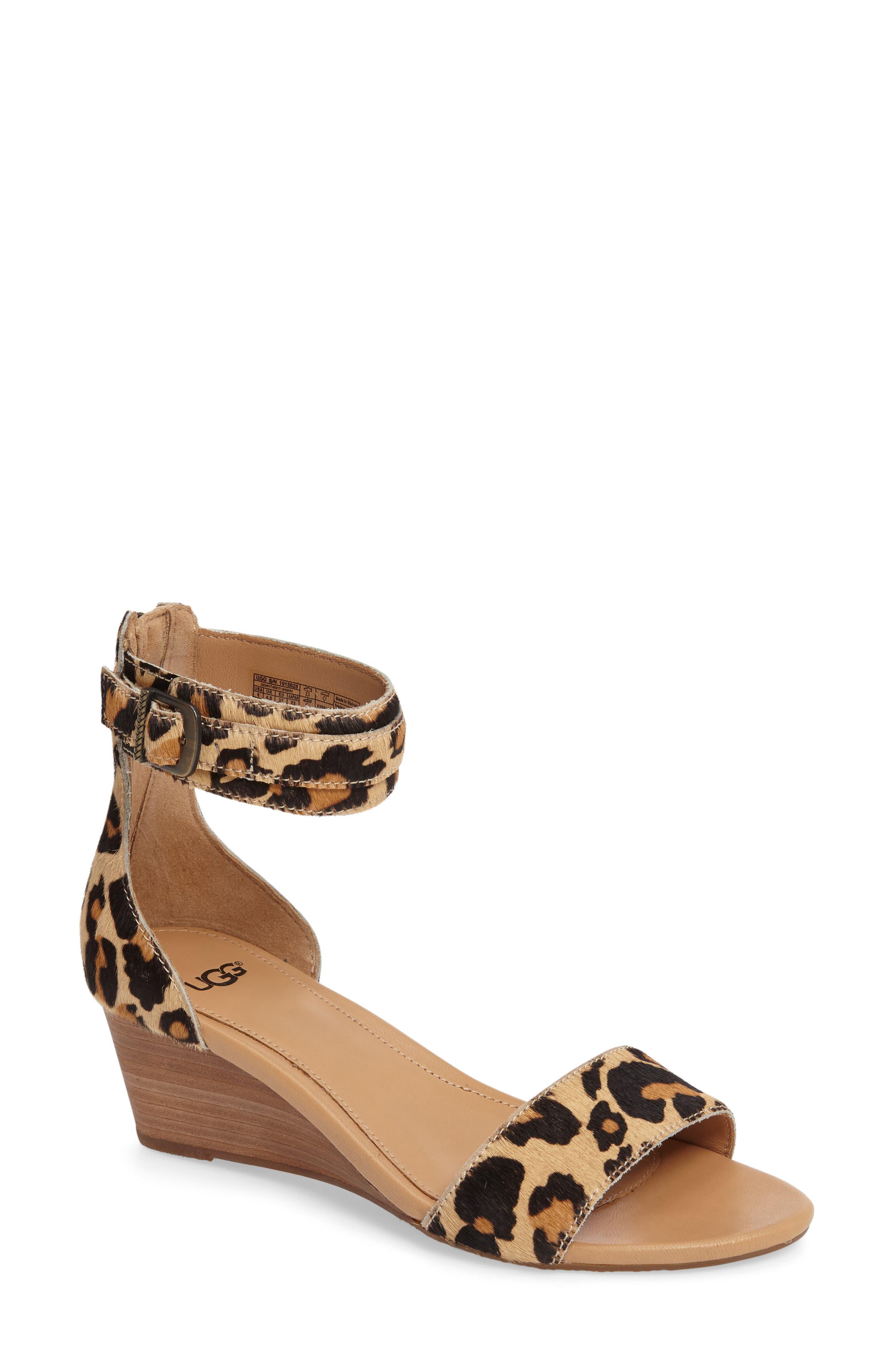 UGG® Char Leopard Print Calf Hair Sandal (Women)