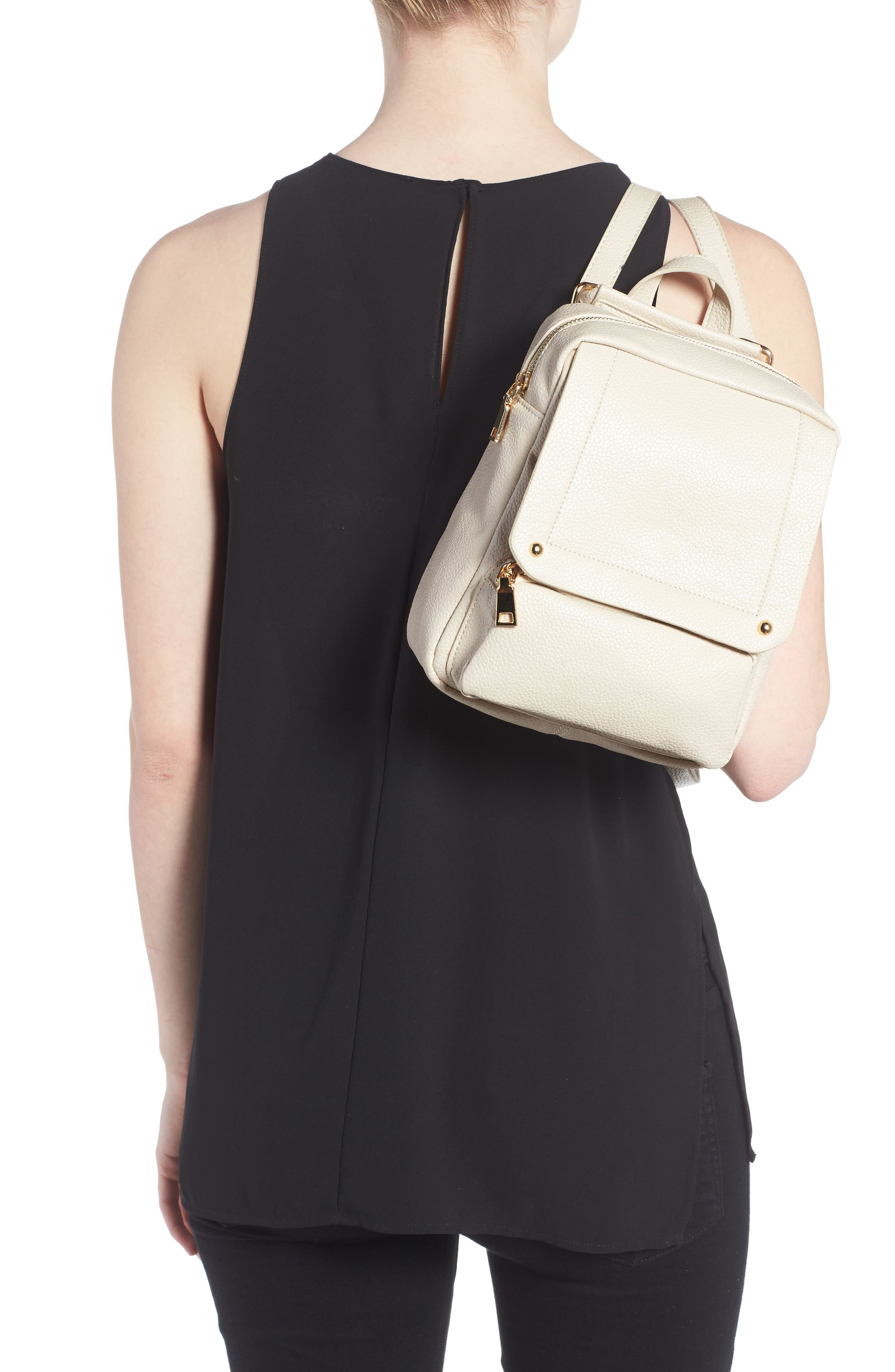 Alternate Image 2  - Girly Faux Leather Flap Mini Backpack