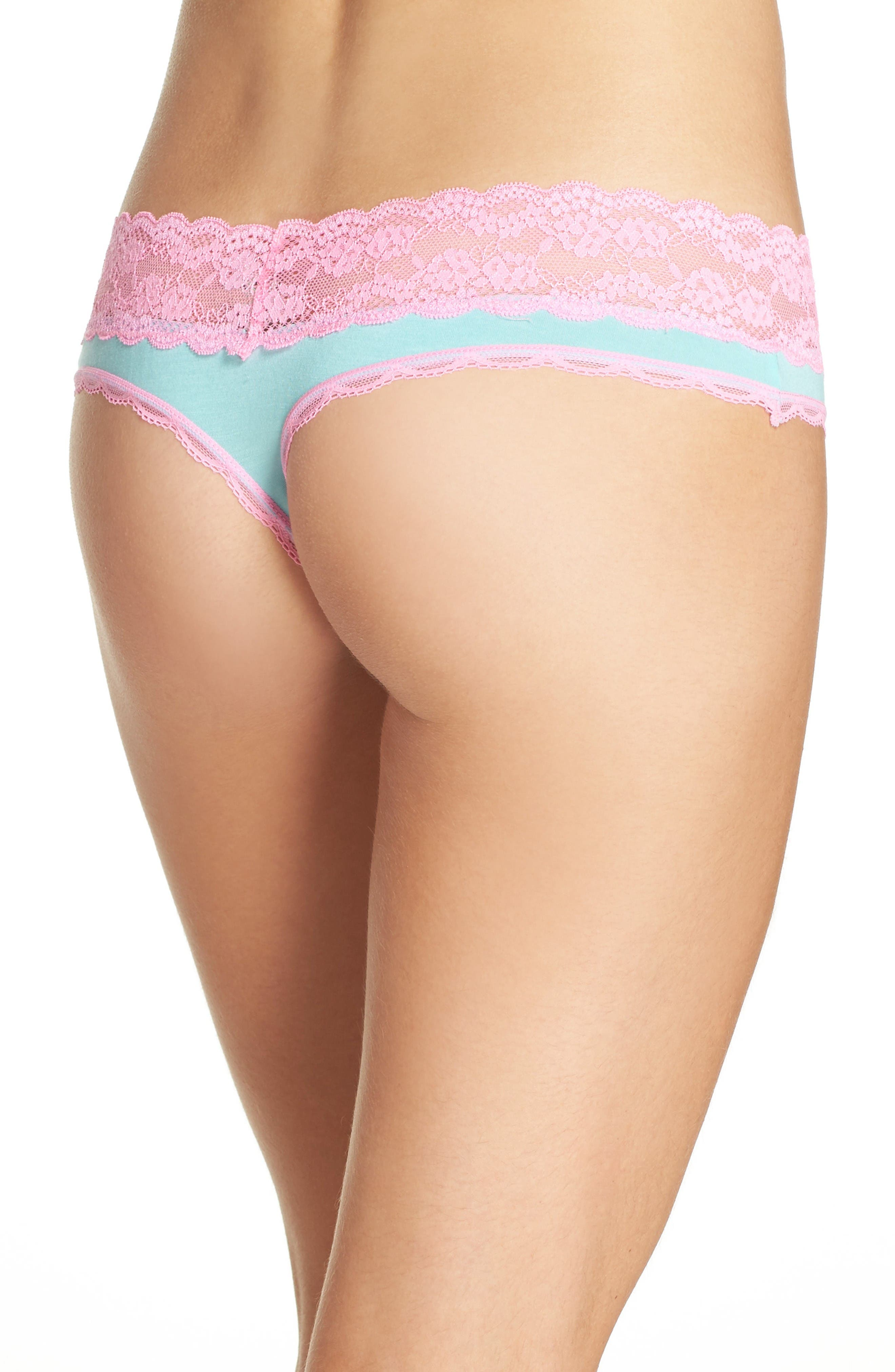 Alternate Image 2  - Honeydew Intimates Lace Trim Low Rise Thong (3 for $33)