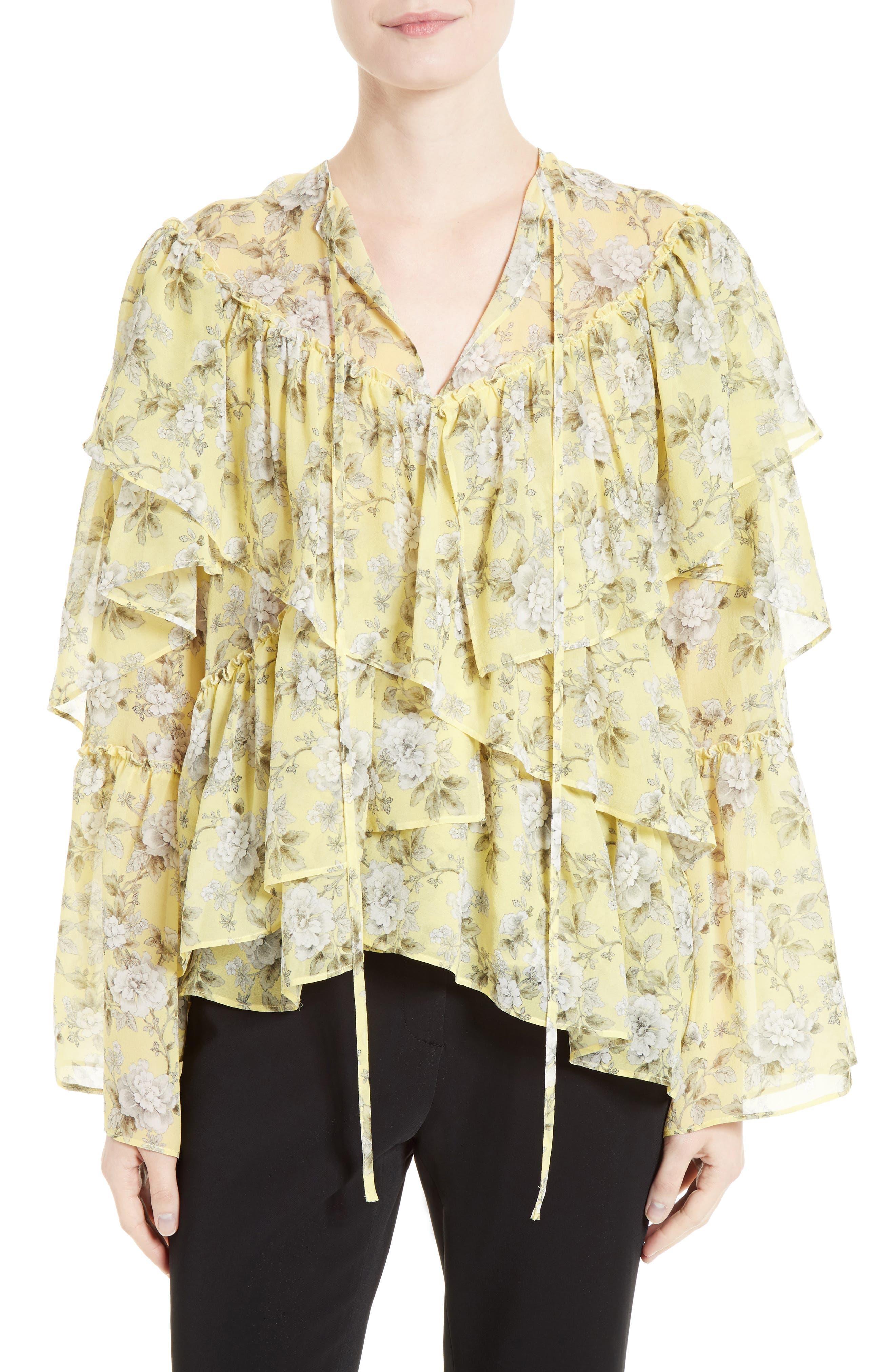 Main Image - Robert Rodriguez Ruffle Floral Print Silk Blouse