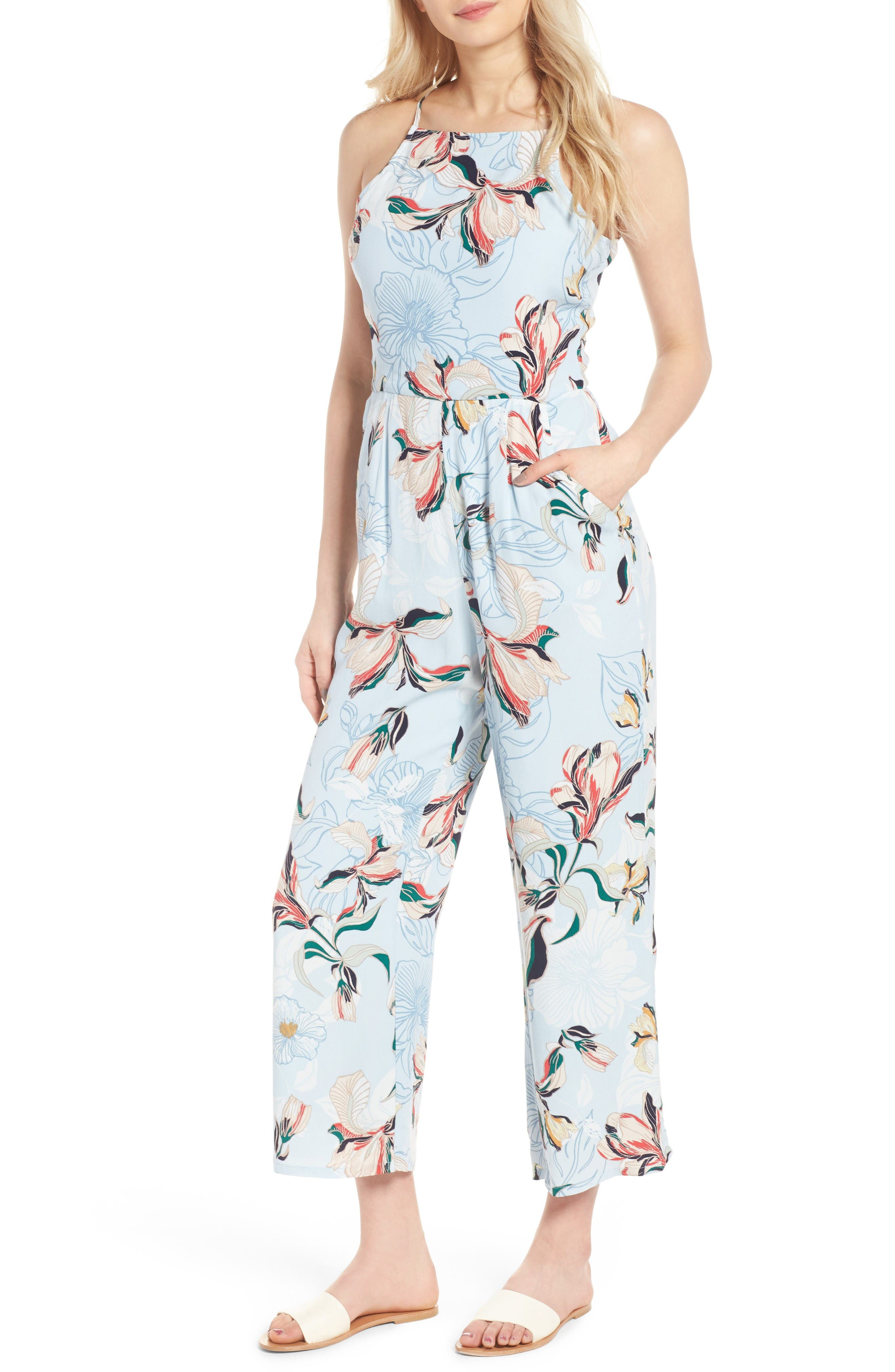 Alternate Image 1 Selected - cupcakes and cashmere Darsy Floral Print Jumpsuit