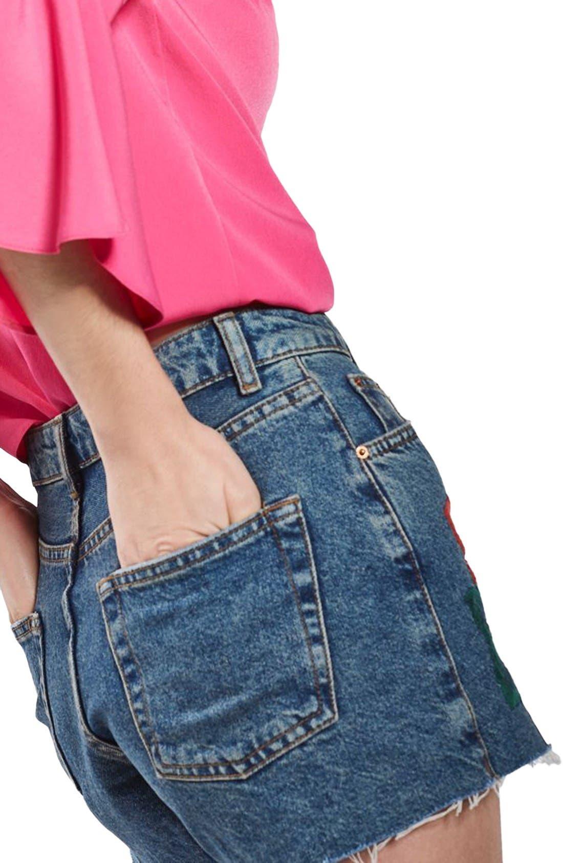 Alternate Image 4  - Topshop Rose Embroidered Mom Shorts