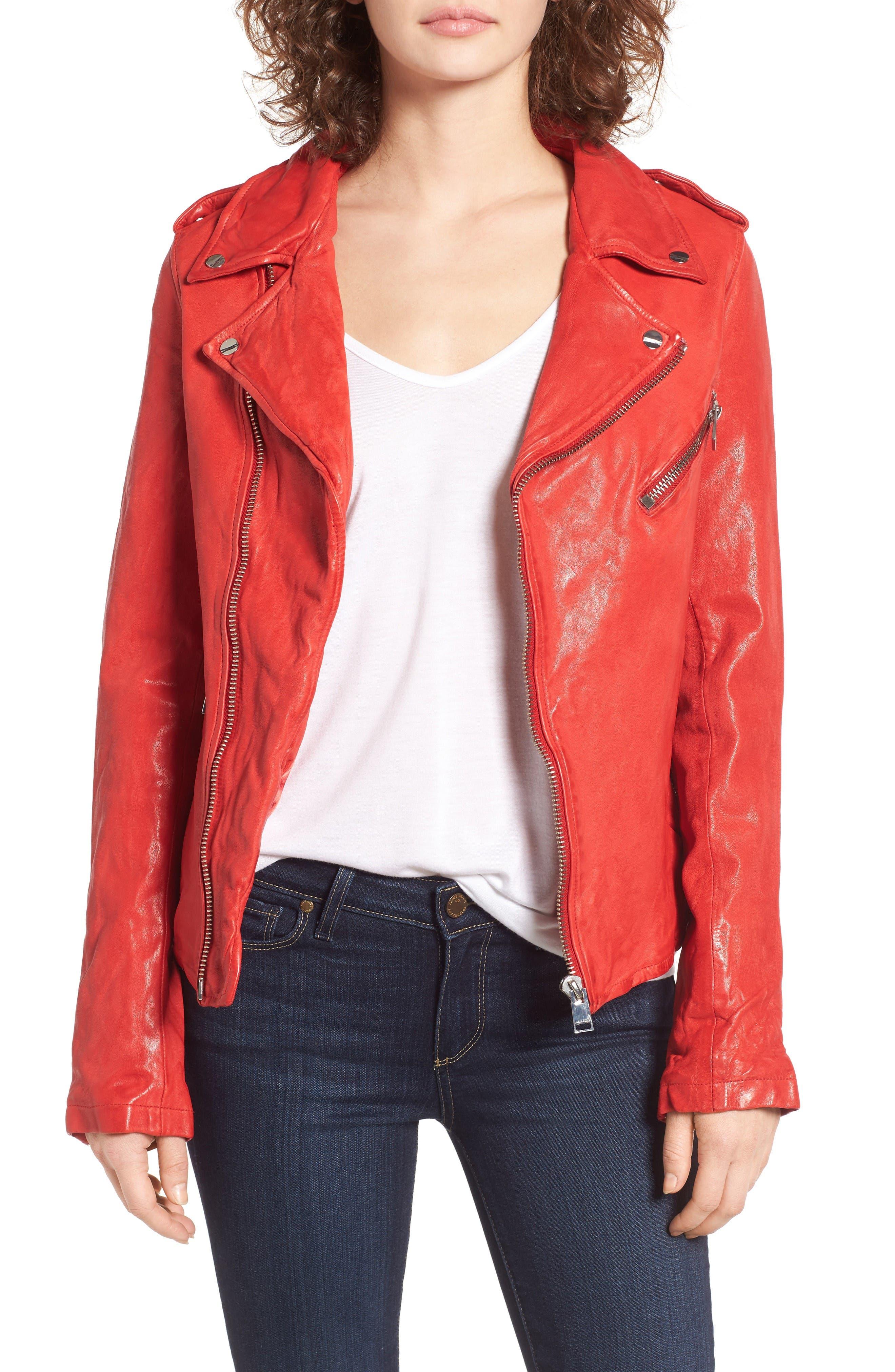 Main Image - LAMARQUE Washed Lambskin Leather Moto Jacket