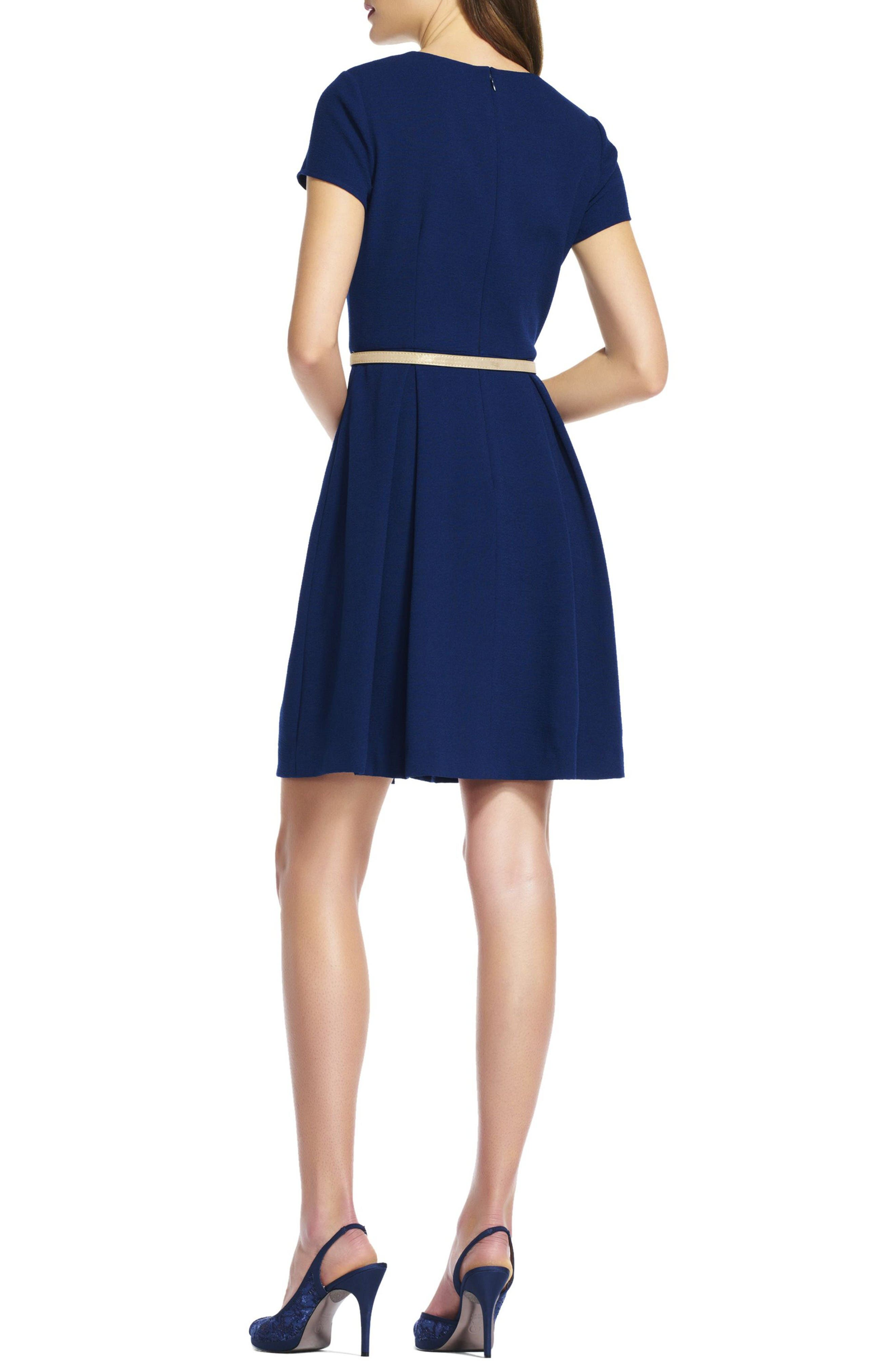 Alternate Image 2  - Adrianna Papell Belted Textured Crepe Fit & Flare Dress
