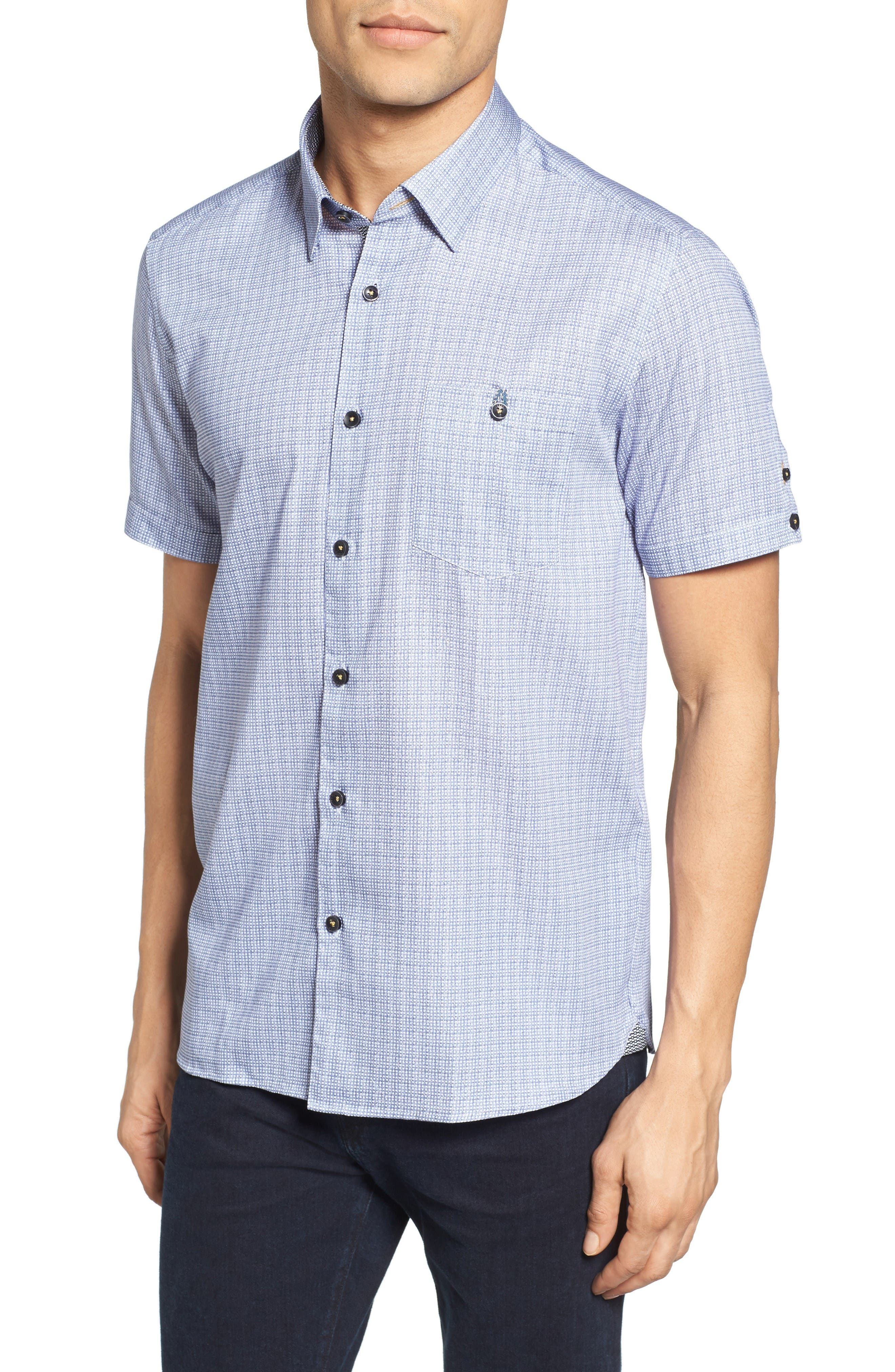 Ted Baker London Lorenze Extra Slim Fit Mini Check Sport Shirt