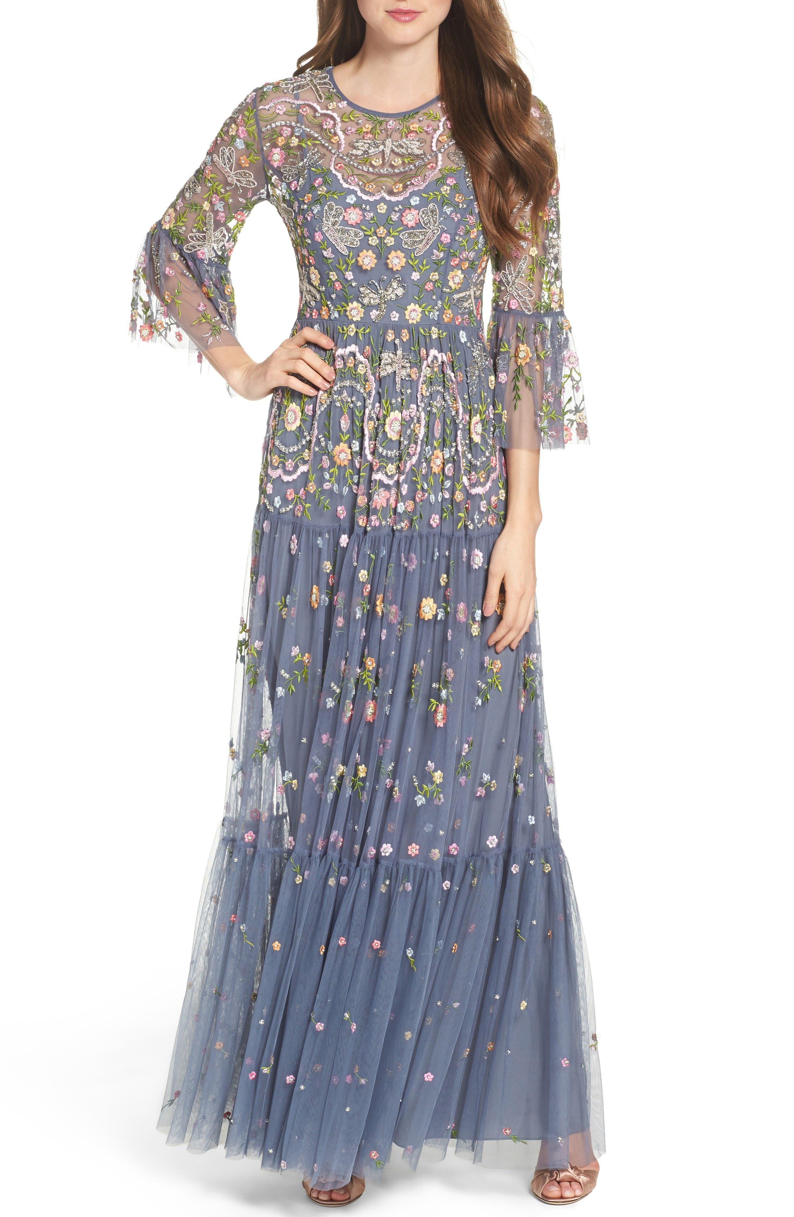Main Image - Needle & Thread Dragonfly Garden Beaded Tulle Gown