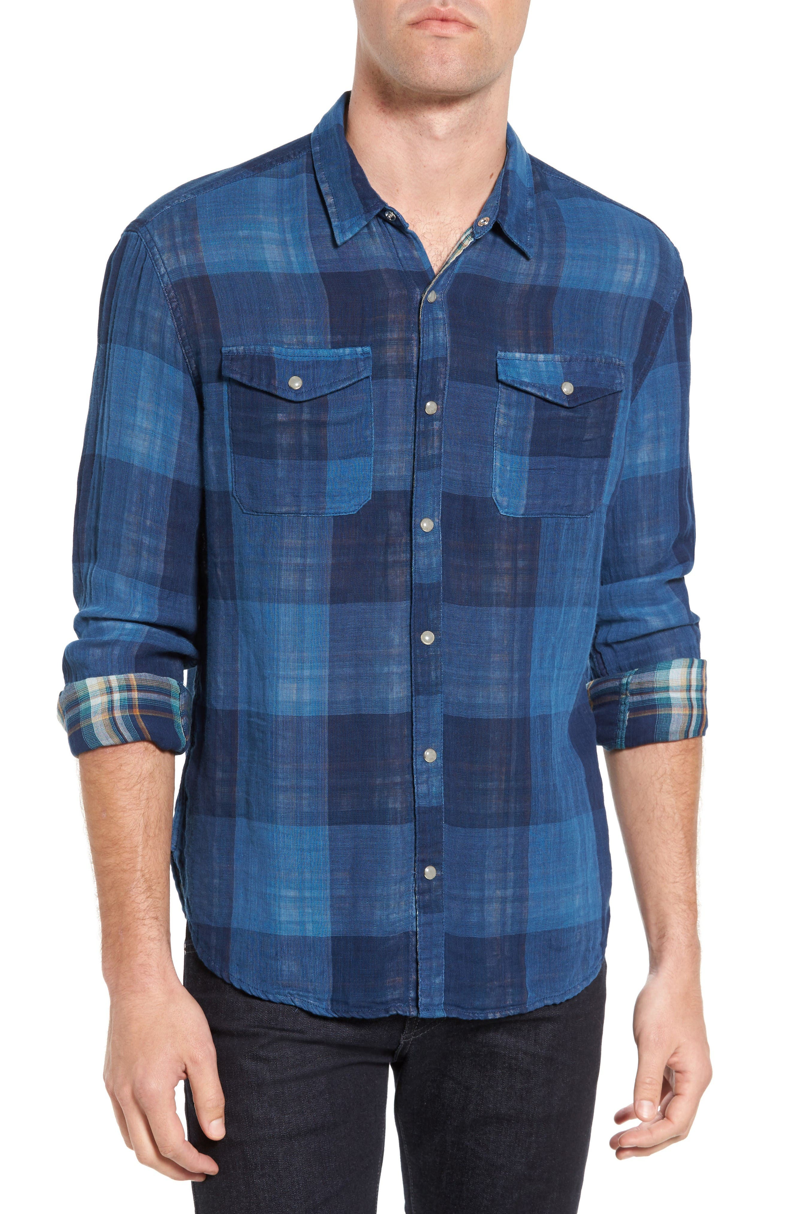 John Varvatos Star USA Trim Fit Plaid Western Shirt