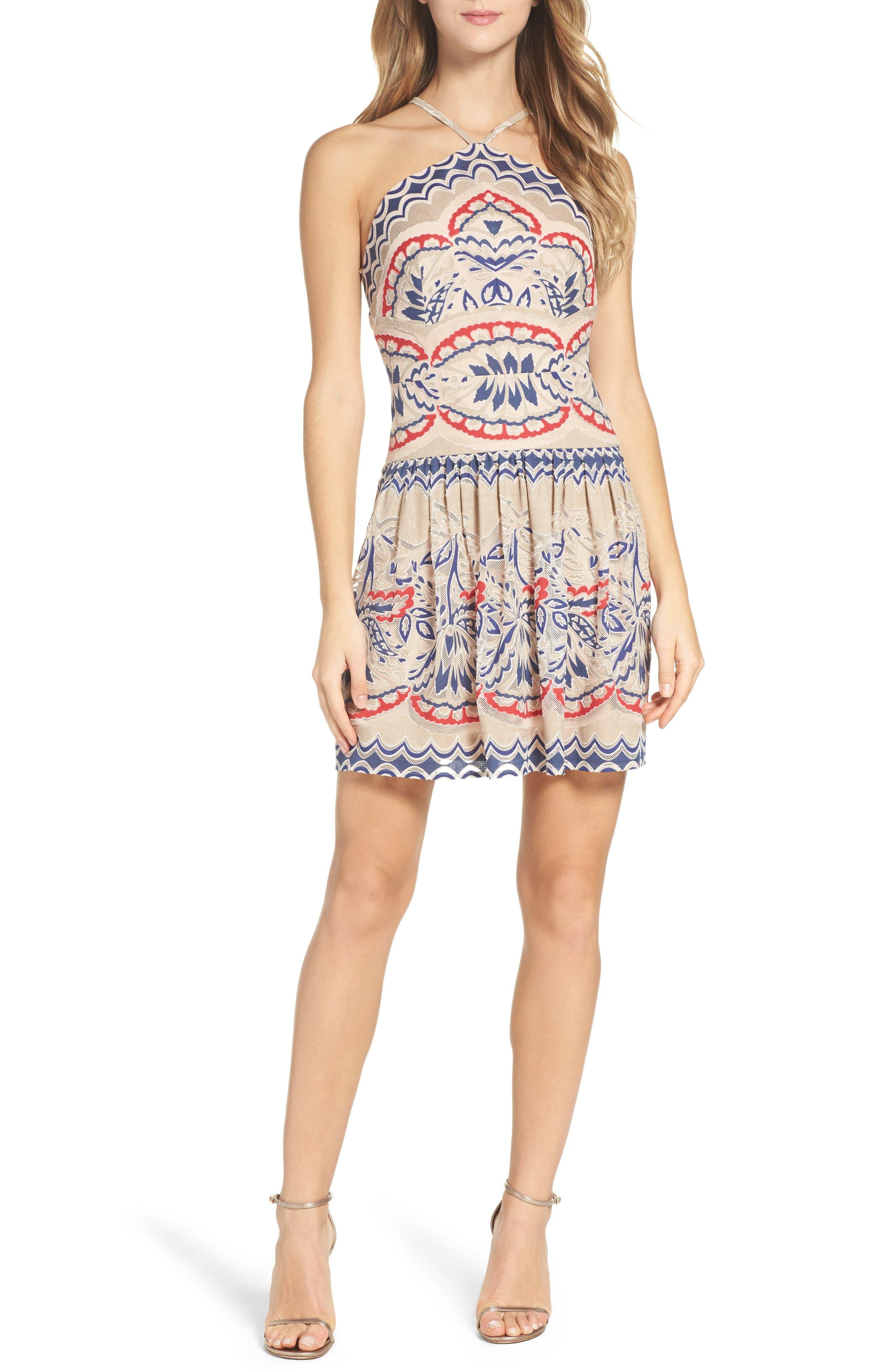 Main Image - BCBGMAXAZRIA Fleur Drop Waist Dress