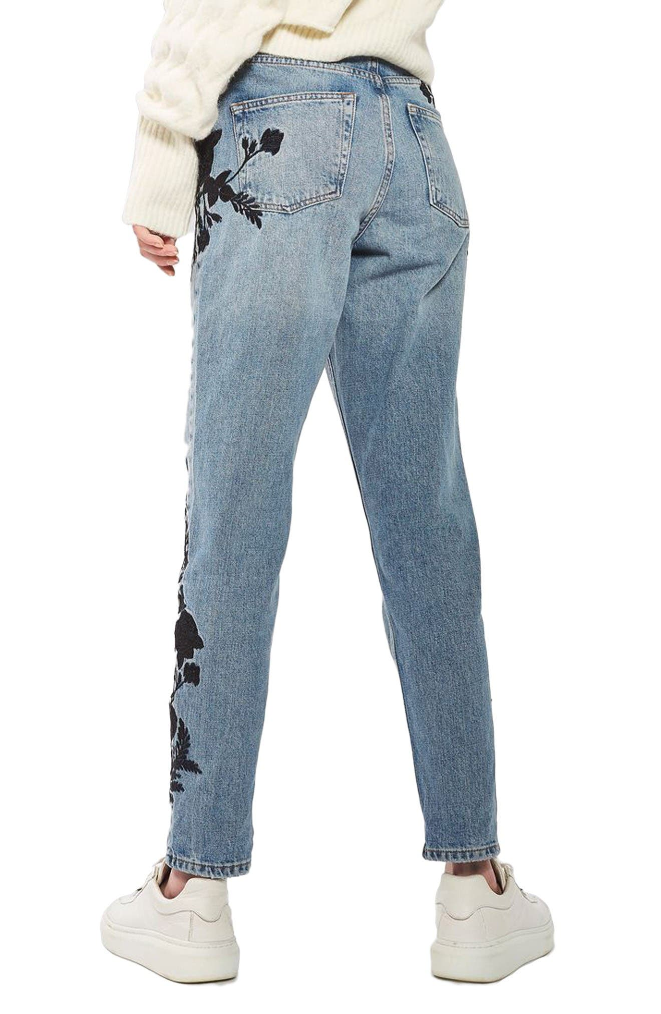 Alternate Image 3  - Topshop Embroidered Mom Jeans