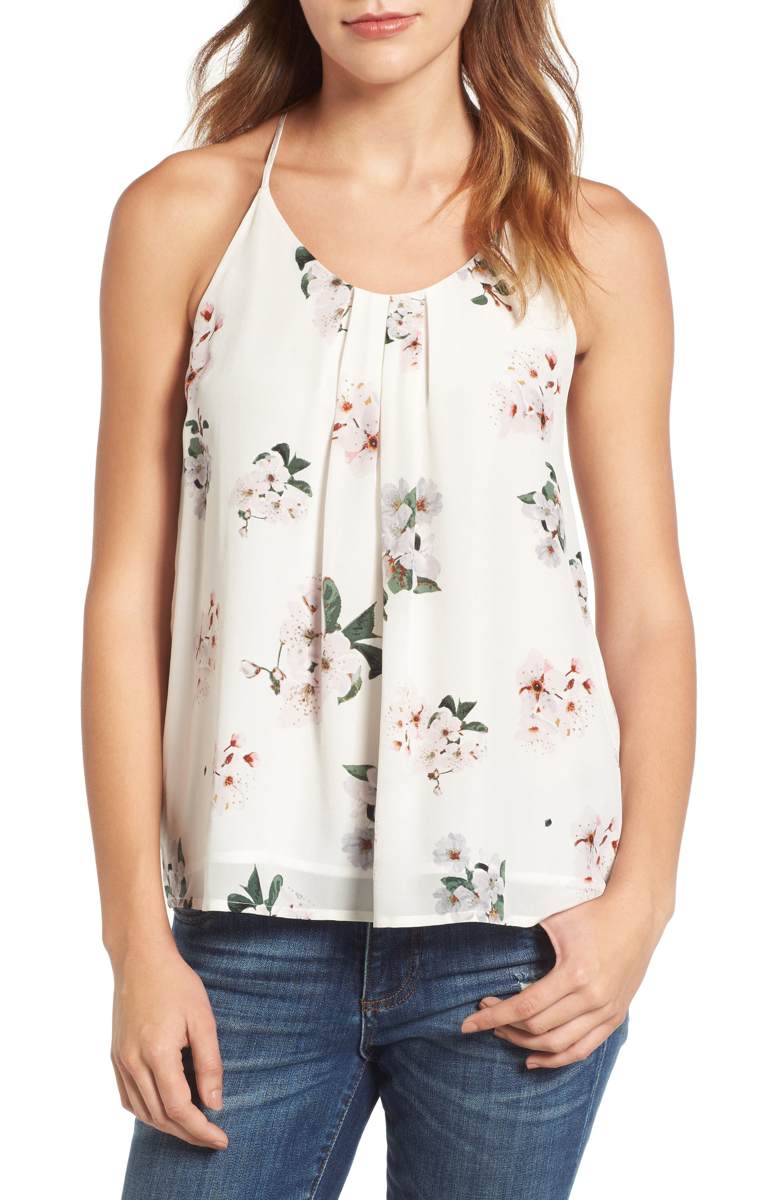 Alternate Image 1 Selected - Lucky Brand Floral Silk Tank
