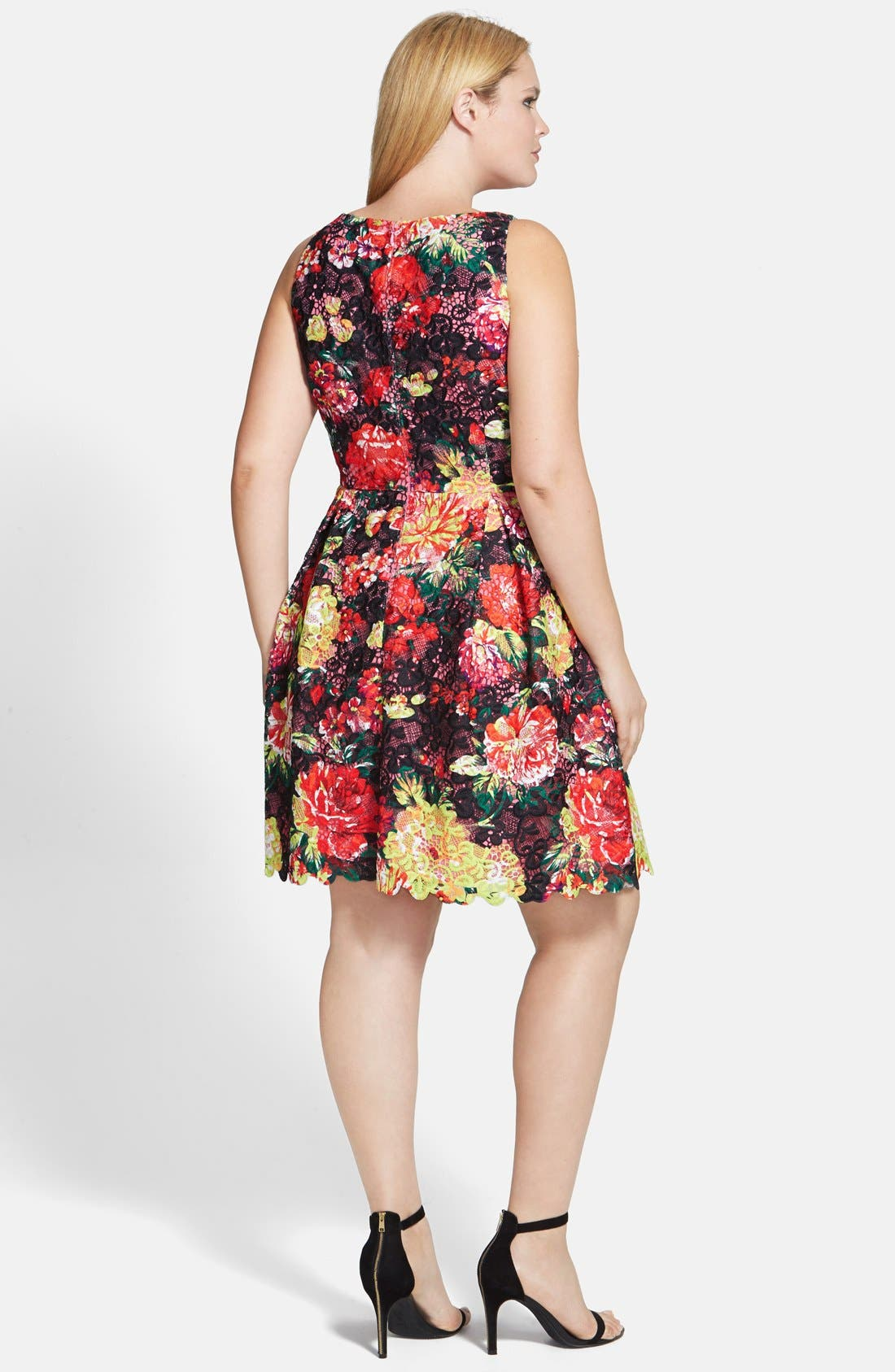 Alternate Image 2  - Adrianna Papell Print Lace Fit & Flare Dress (Plus Size)