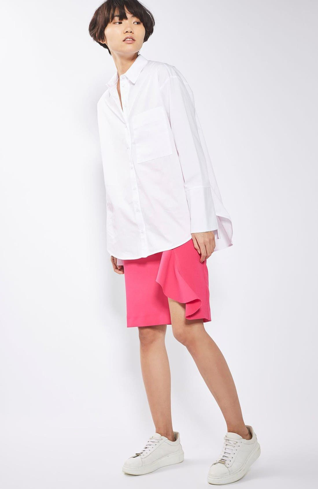 Alternate Image 2  - Topshop Deep Cuff Oversize Shirt
