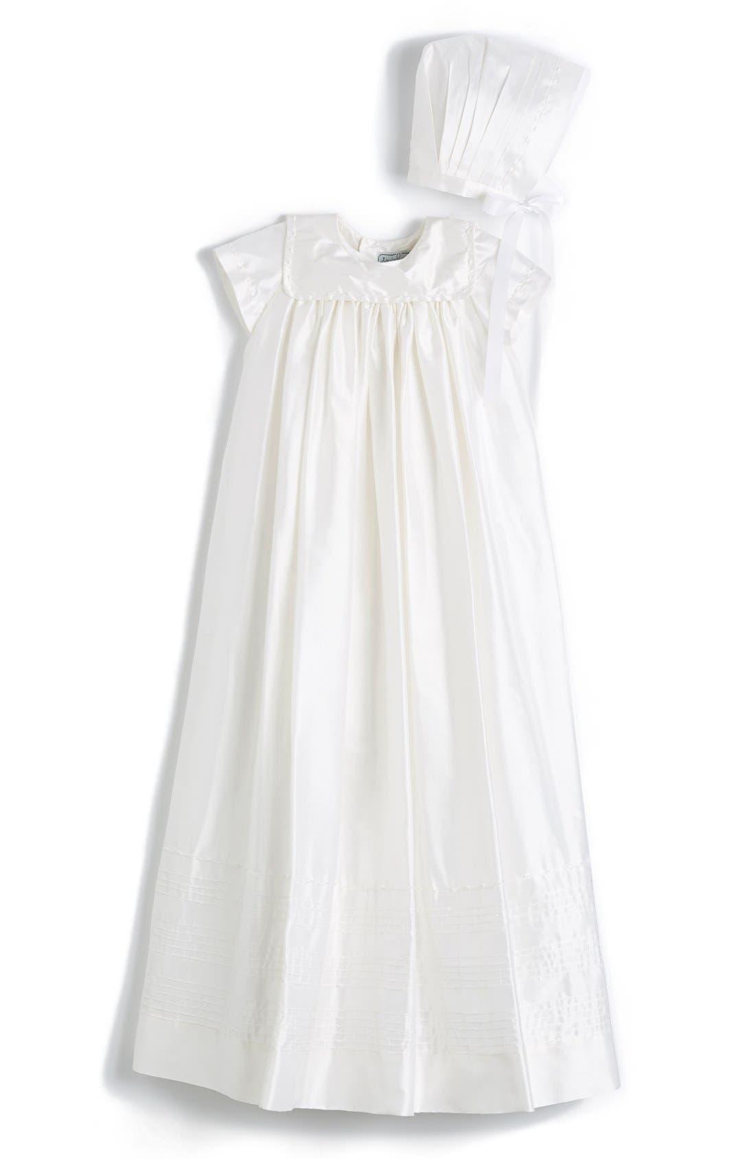 ISABEL GARRETON 'Traditional' Silk Christening Gown & Bonnet