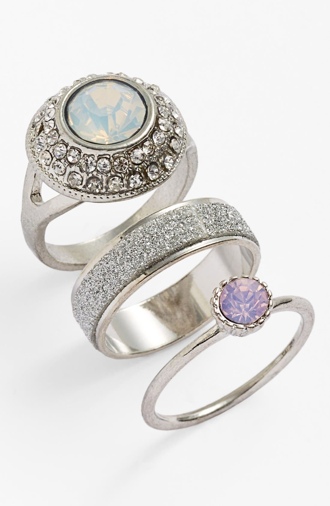 Alternate Image 1 Selected - Topshop Crystallized Rings (Set of 3)