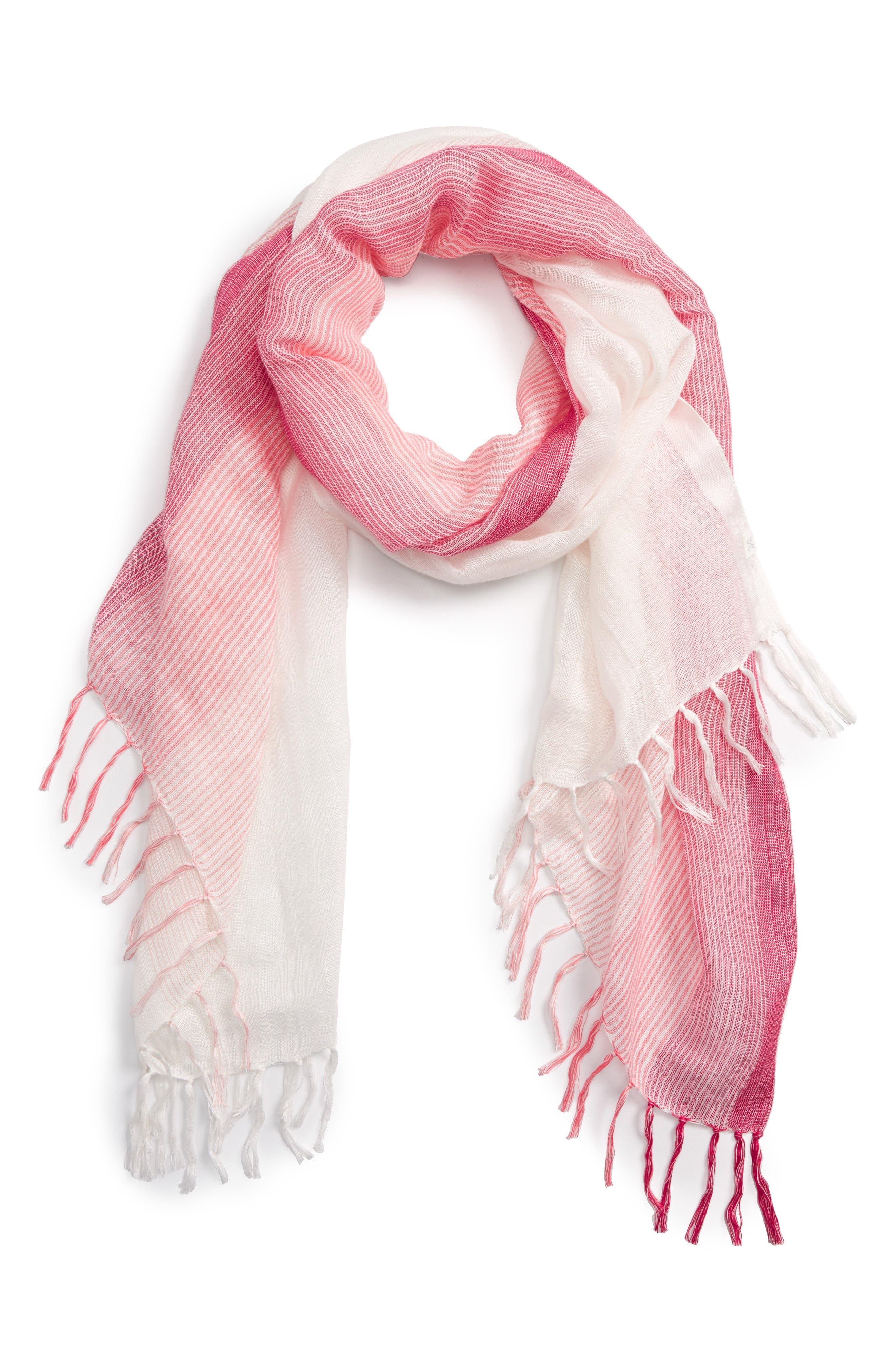 Caslon® Ombré Stripe Linen Blend Scarf