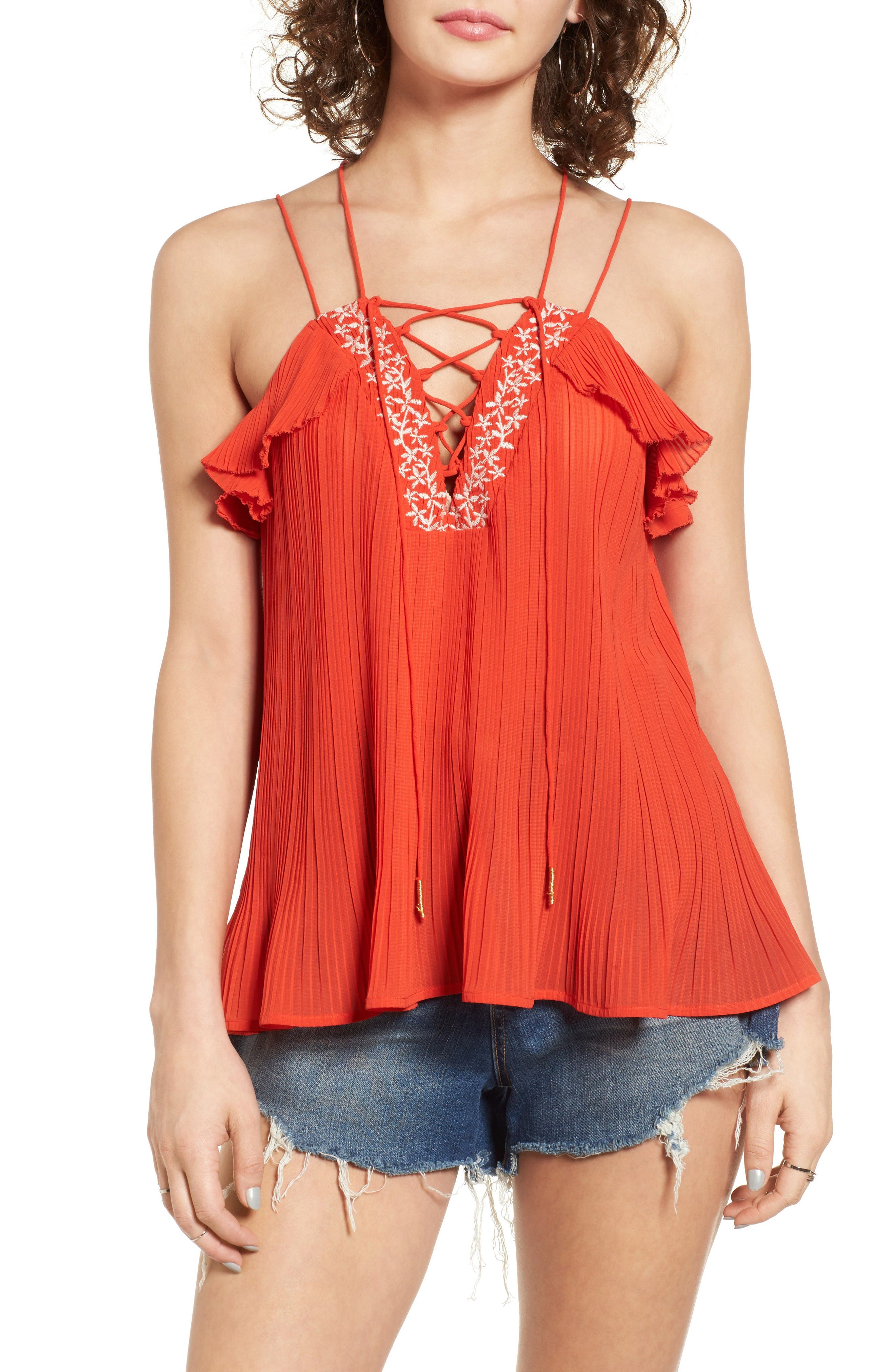 Main Image - MOON RIVER Lace-Up Pleated Tank