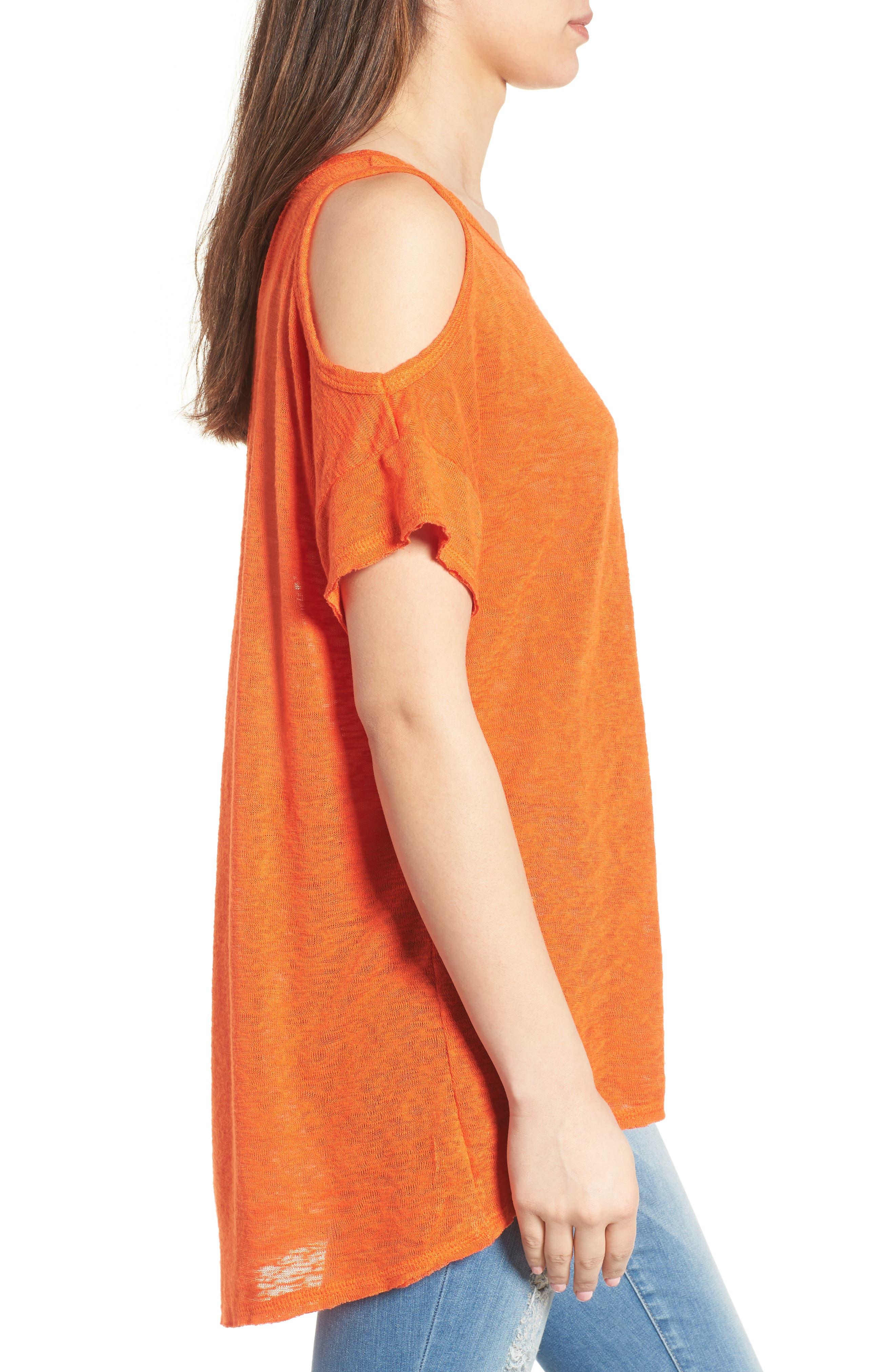 Alternate Image 3  - Bobeau Cold Shoulder Slub Knit Tee (Regular & Petite)