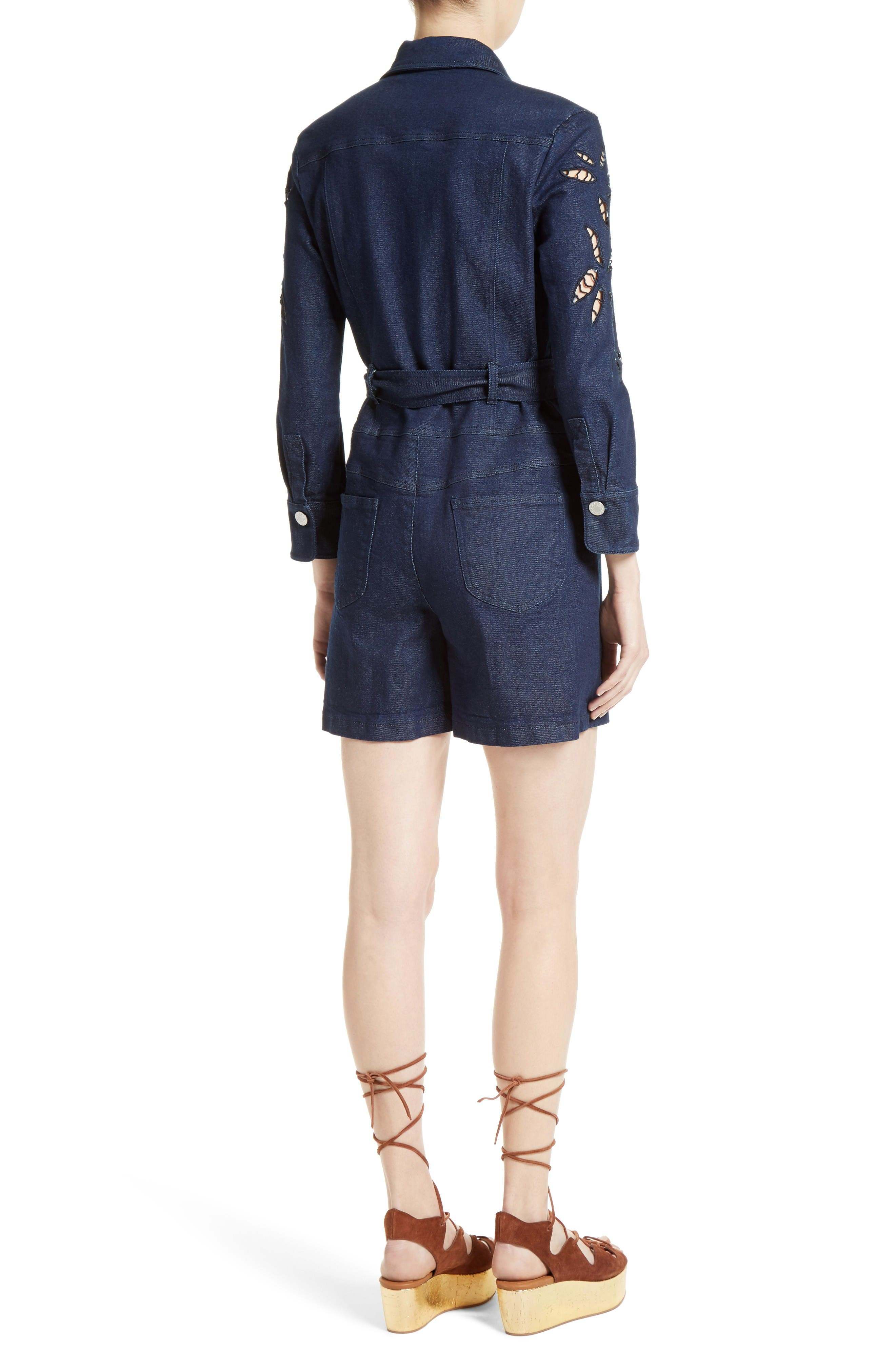 Alternate Image 4  - See by Chloé Embroidered Denim Romper (Nordstrom Exclusive)
