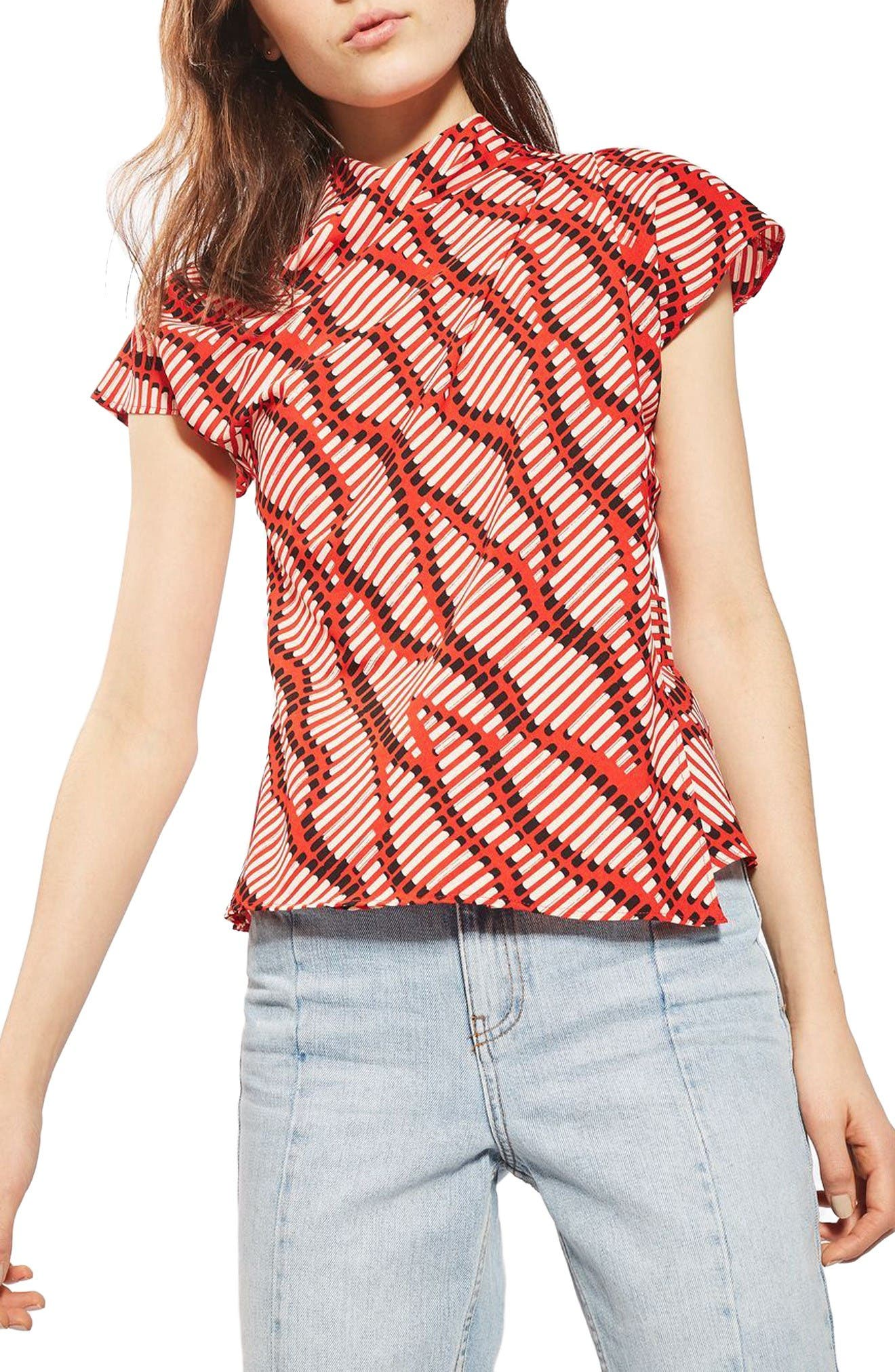 Alternate Image 1 Selected - Topshop Matchstick Print Origami Top