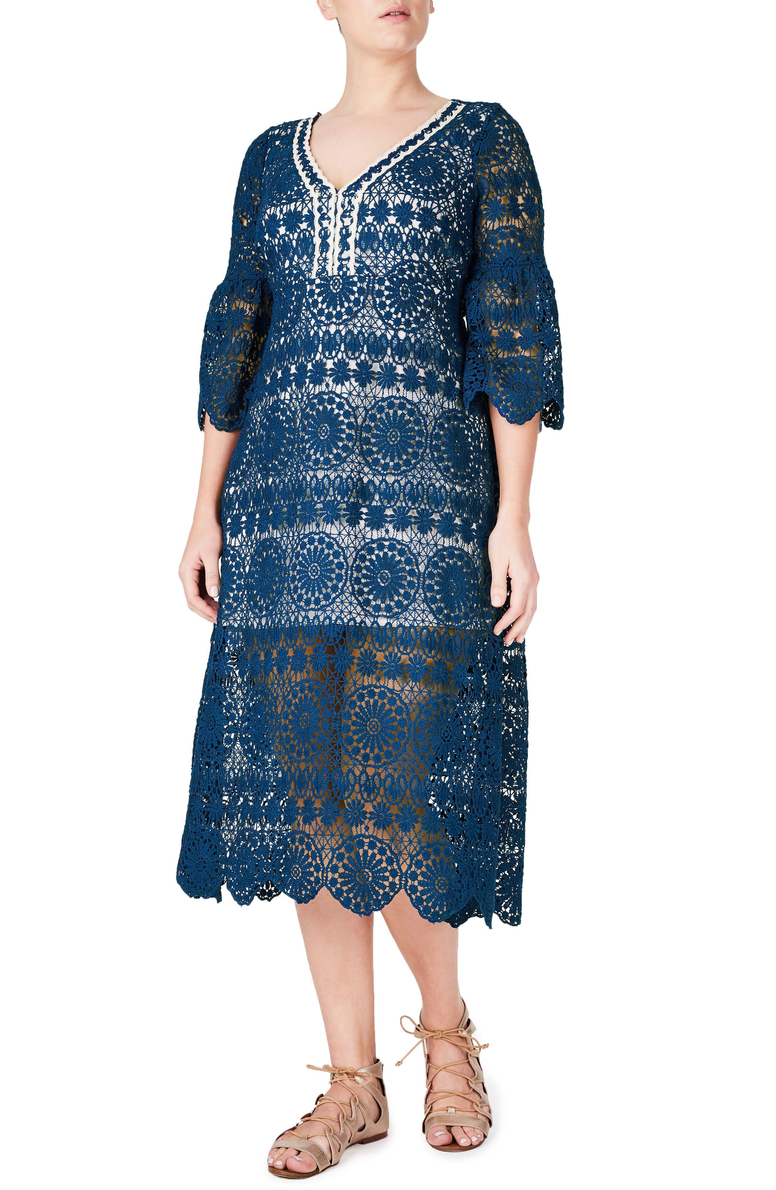 ELVI Lace Midi Dress (Plus Size)