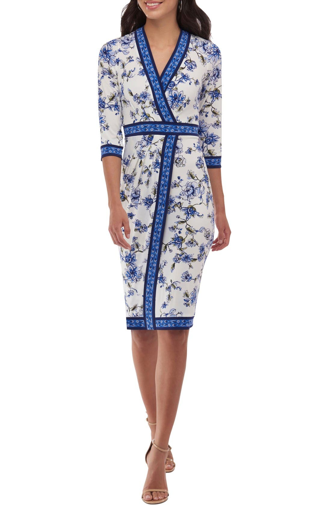 Alternate Image 1 Selected - ECI Floral Faux Wrap Dress