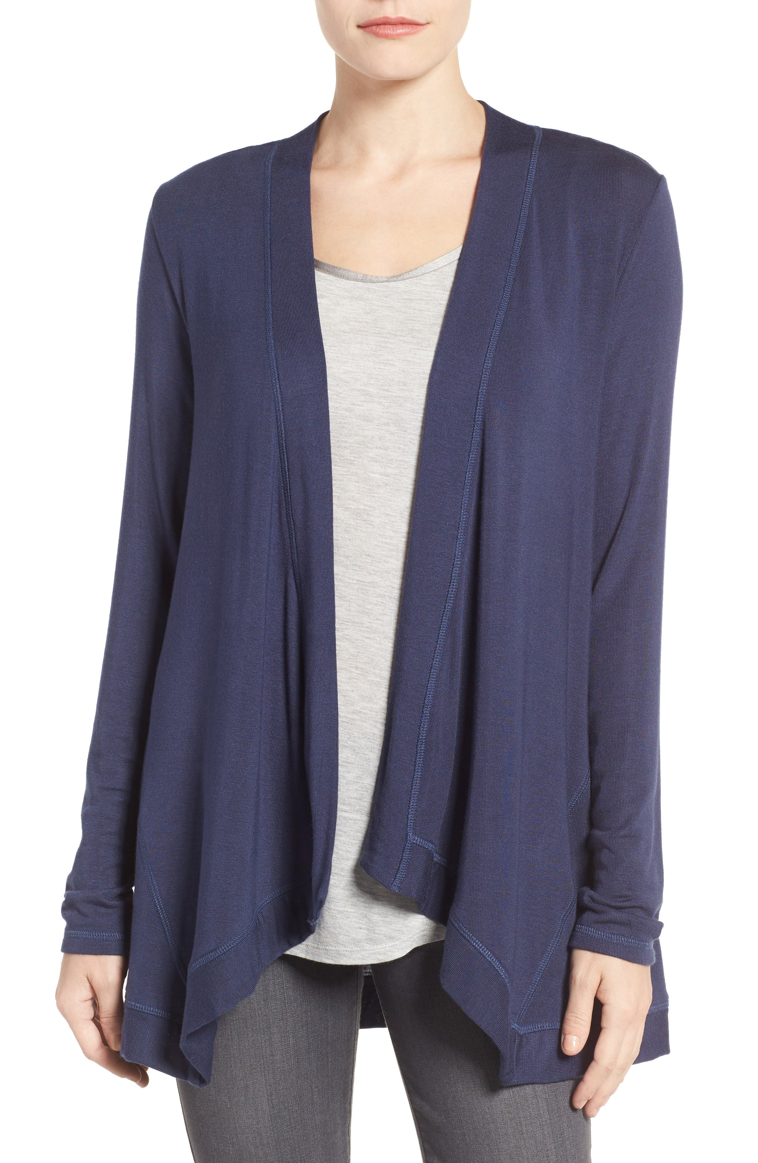 BOBEAU Exposed Topstitch Cardigan